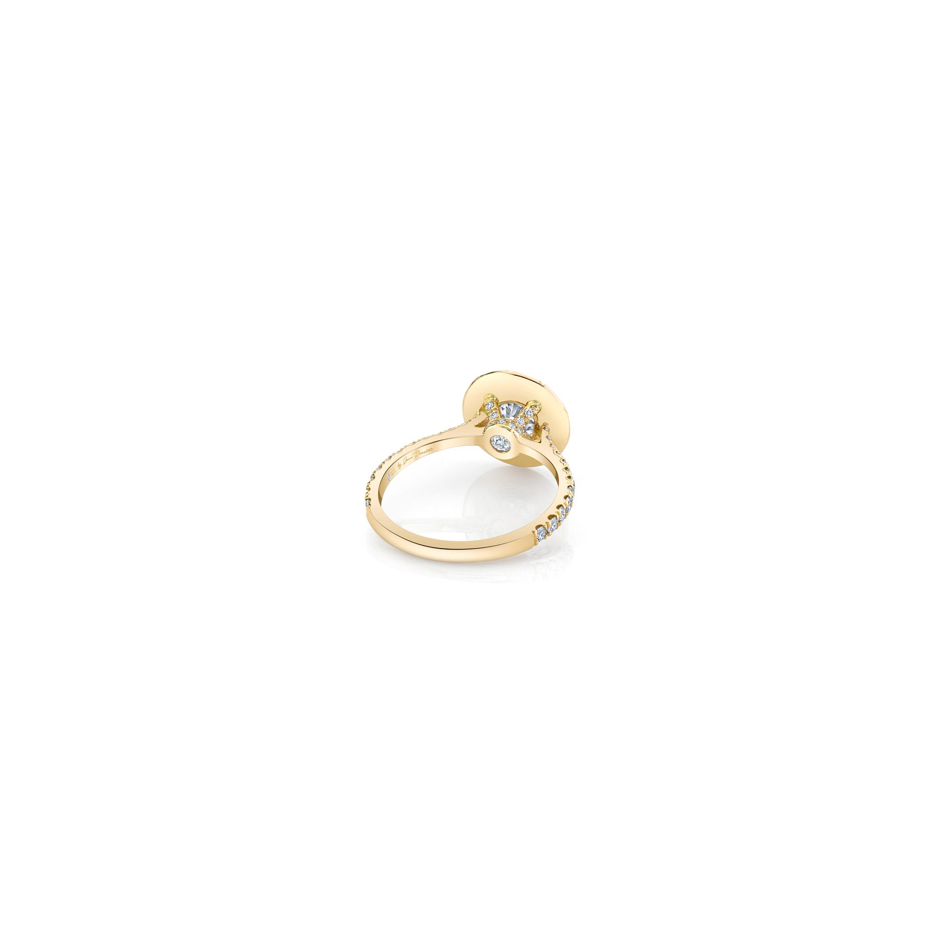 Eloise Round Brilliant Seamless Solitaire™ Engagement Ring with diamond pavé in 18k Yellow Gold Back View by Oui by Jean Dousset