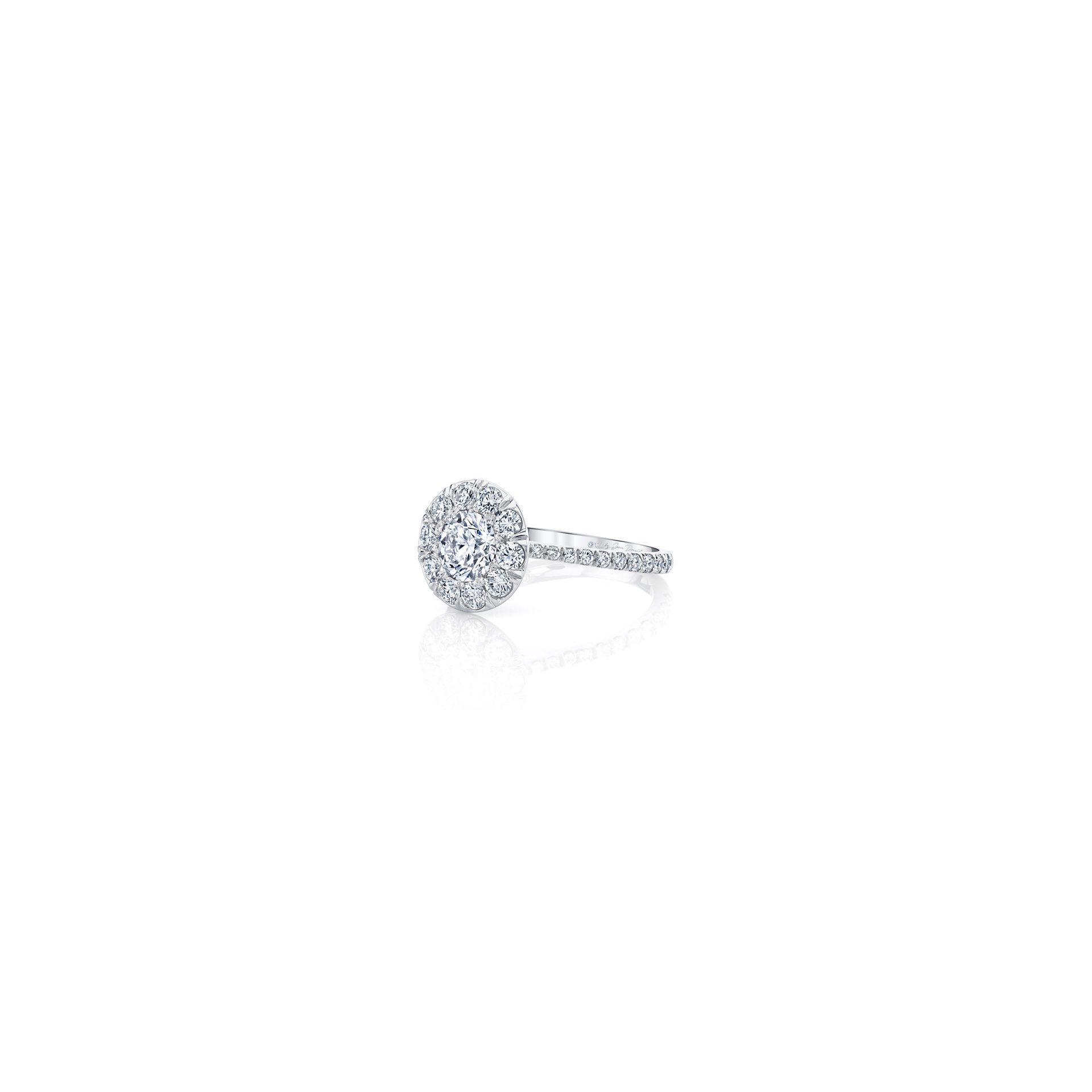 Eloise Round Brilliant Seamless Solitaire™ Engagement Ring with diamond pavé in 18k White Gold Side View by Oui by Jean Dousset