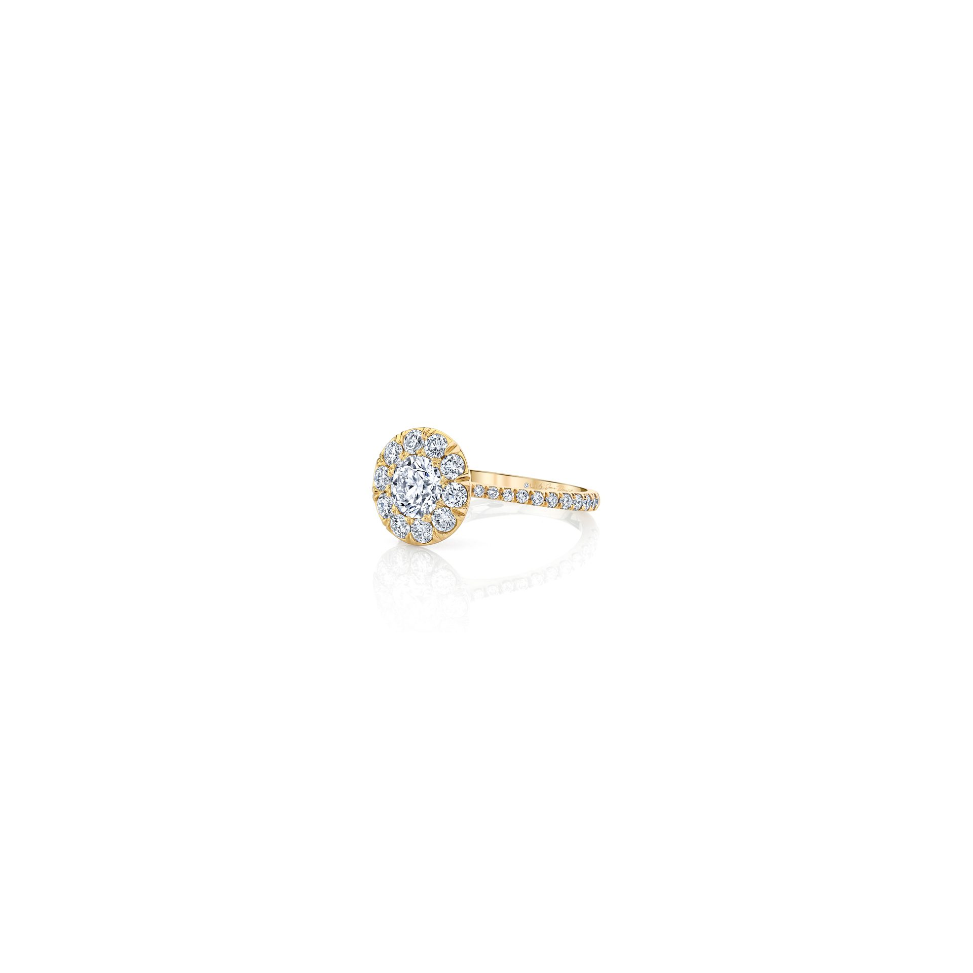 Eloise Round Brilliant Seamless Solitaire™ Engagement Ring with diamond pavé in 18k Yellow Gold Side View by Oui by Jean Dousset