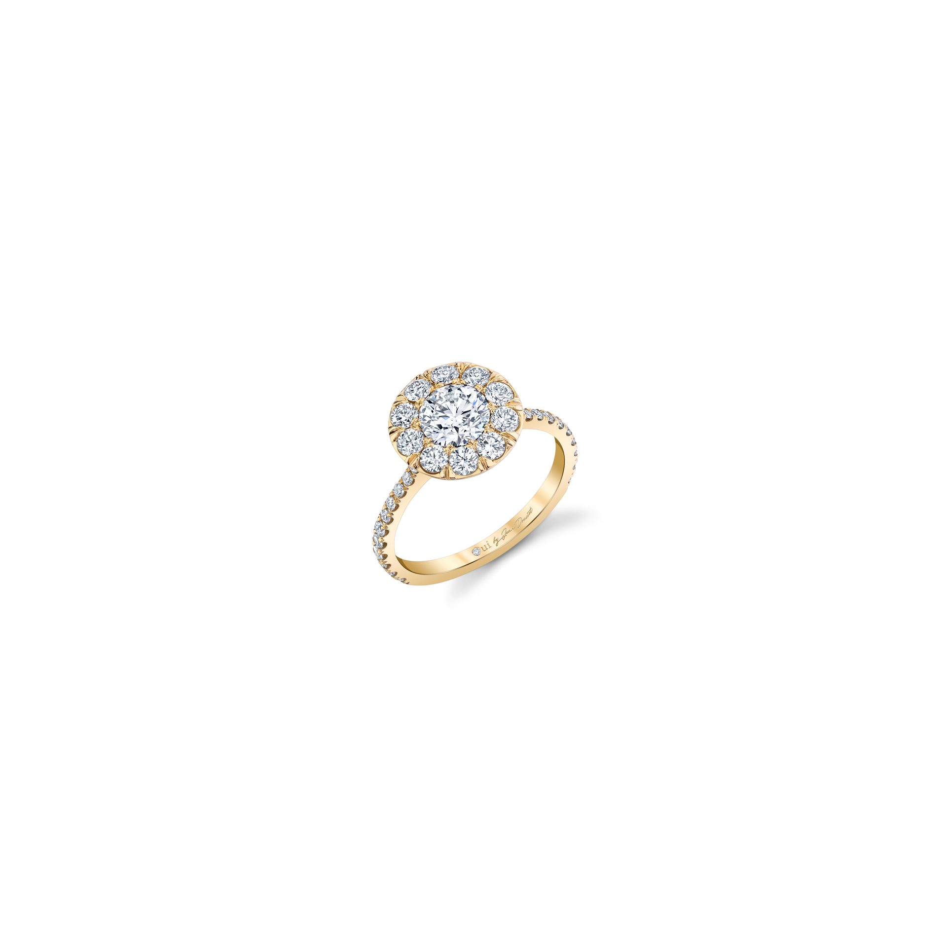 Eloise Round Brilliant Seamless Solitaire™ Engagement Ring with diamond pavé in 18k Yellow Gold Front View by Oui by Jean Dousset