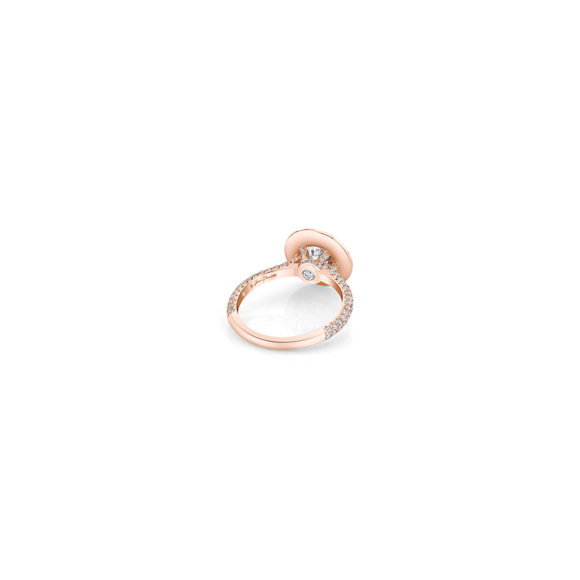 Jacqueline Round Brilliant Seamless Solitaire™ Engagement Ring with diamond pavé in 18k Rose Gold Back View by Oui by Jean Dousset