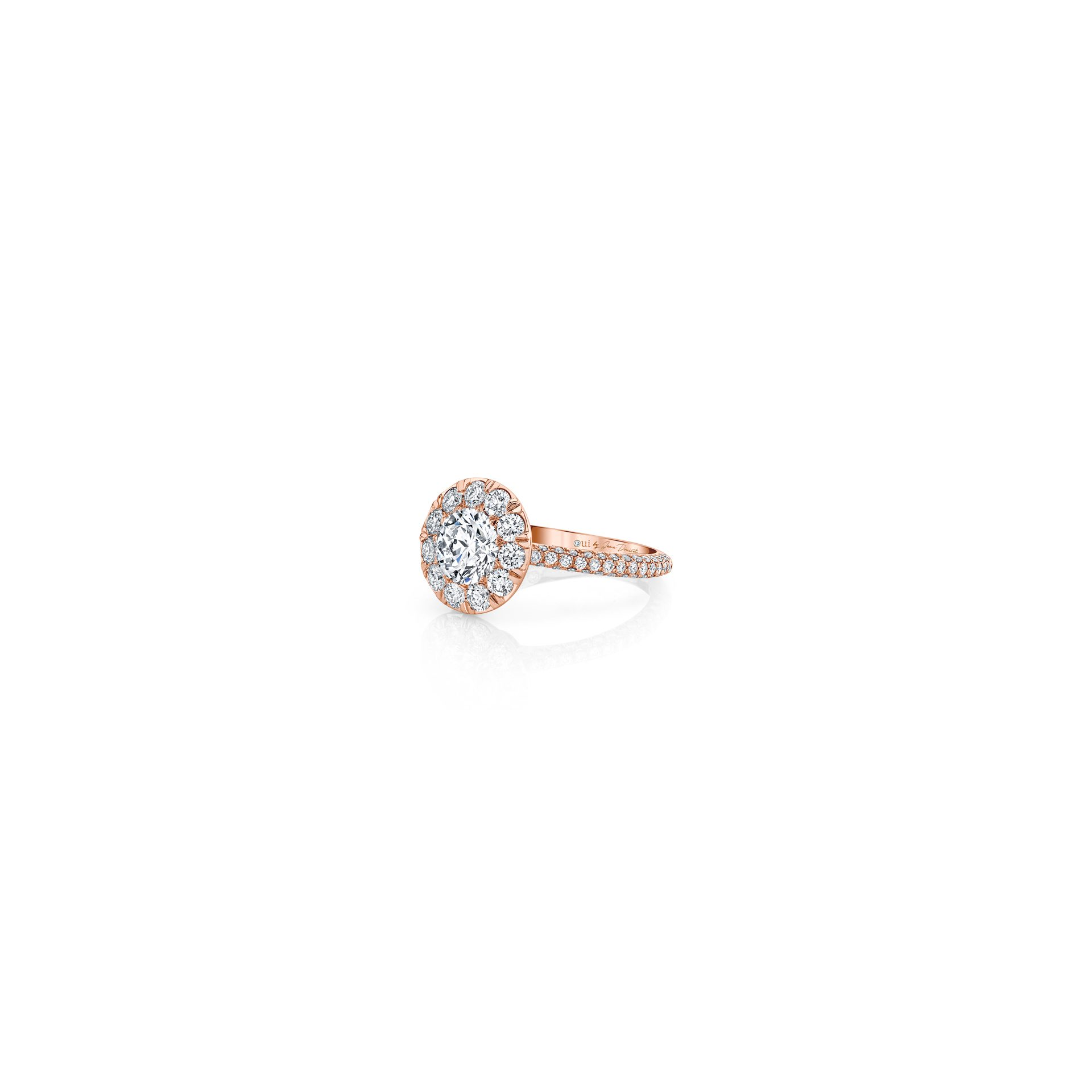 Jacqueline Round Brilliant Seamless Solitaire™ Engagement Ring with diamond pavé in 18k Rose Gold Side View by Oui by Jean Dousset