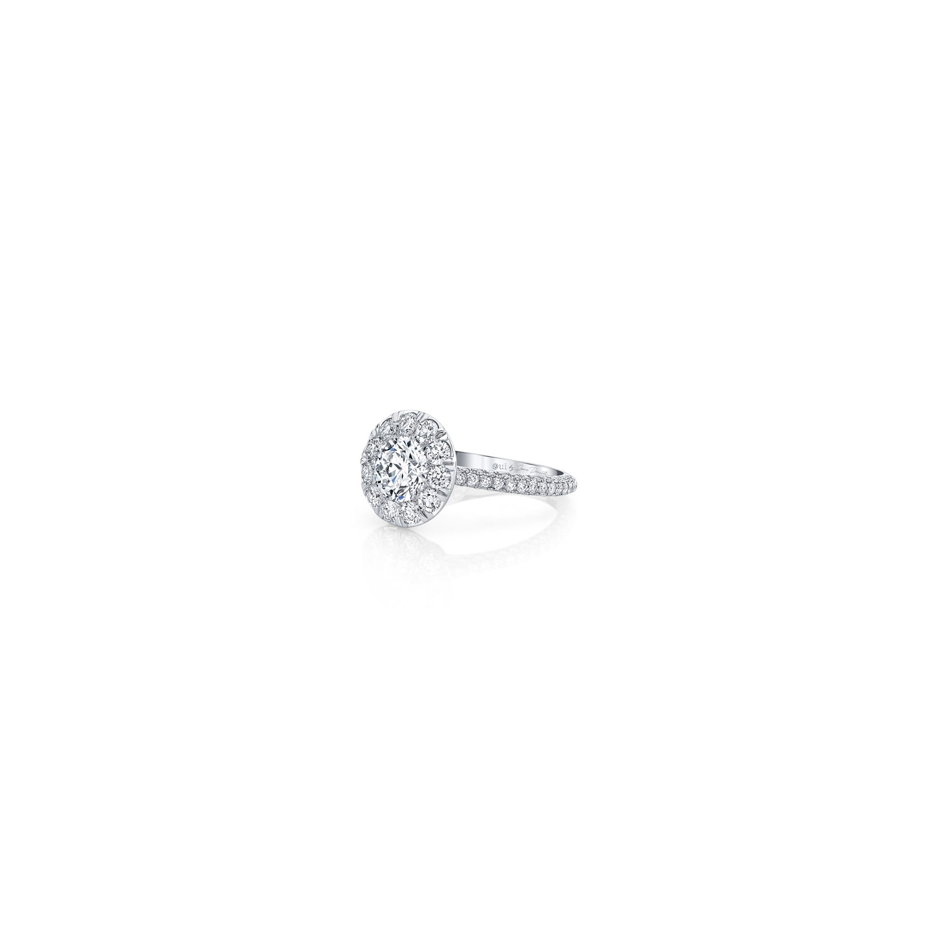 Jacqueline Round Brilliant Seamless Solitaire™ Engagement Ring with diamond pavé in 18k White Gold Side View by Oui by Jean Dousset