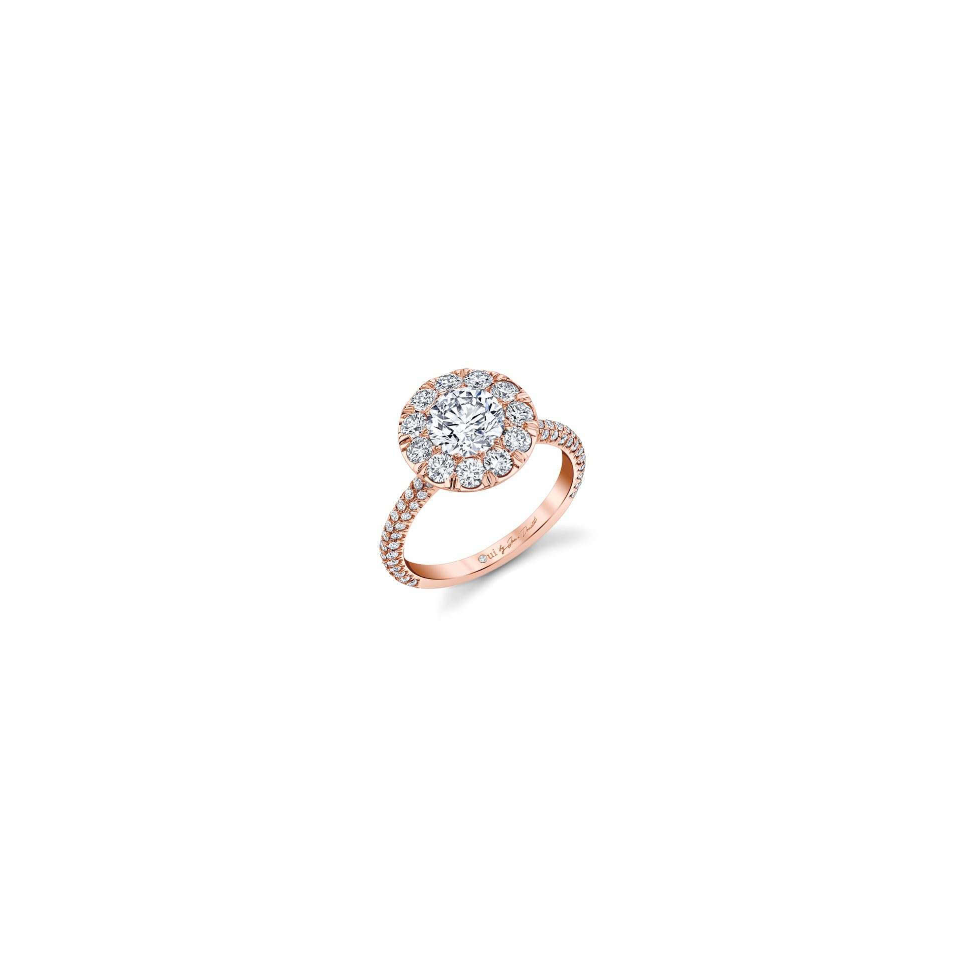 Jacqueline Round Brilliant Seamless Solitaire™ Engagement Ring with diamond pavé in 18k Rose Gold Front View by Oui by Jean Dousset