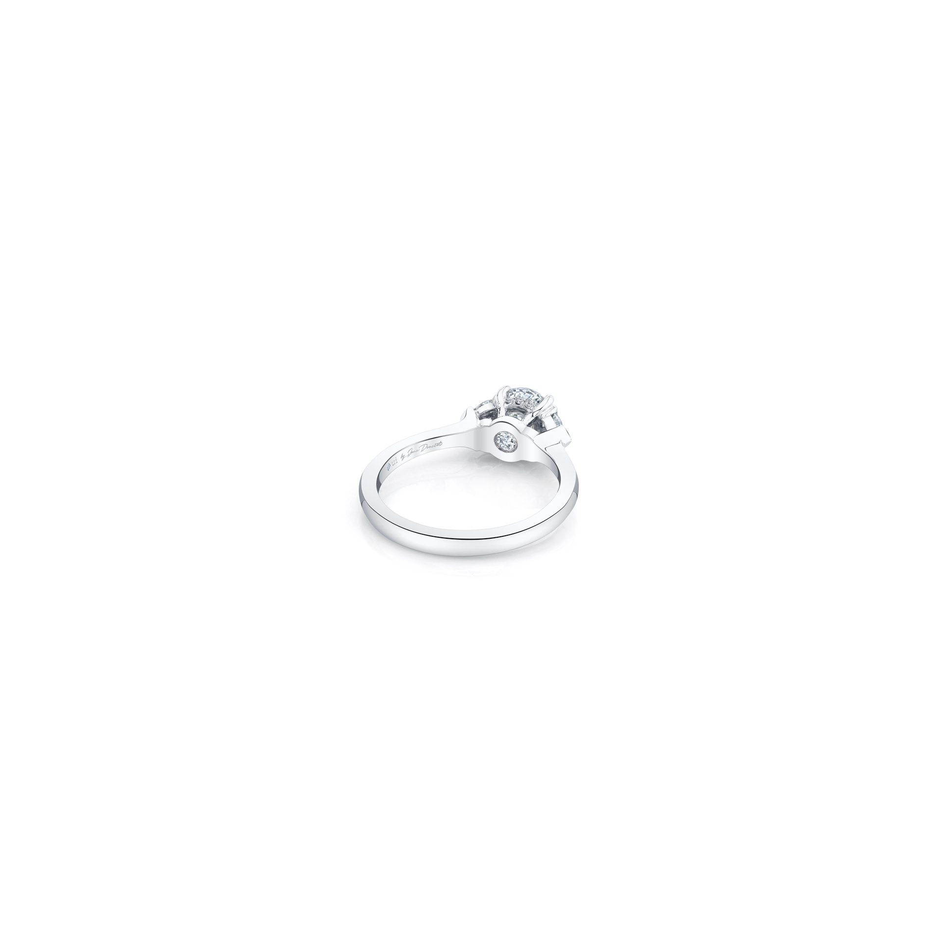 Claire Round Brilliant Three Stone Engagement Ring with heart-shaped diamond side stones in 18k White Gold Back View by Oui by Jean Dousset