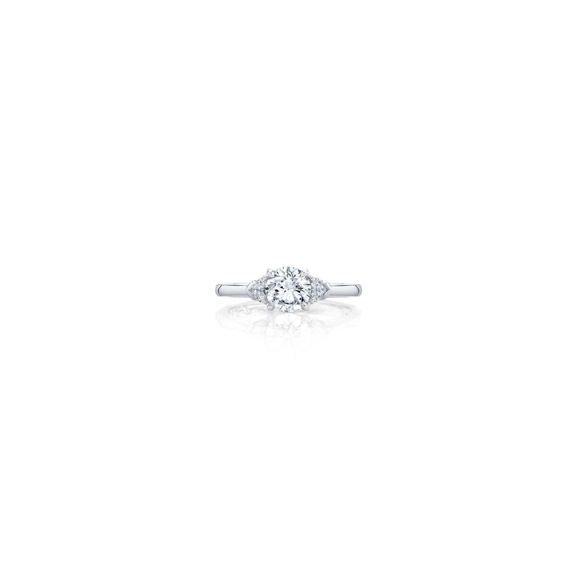 Claire Round Brilliant Three Stone Engagement Ring with heart-shaped diamond side stones in 18k White Gold Front View by Oui by Jean Dousset