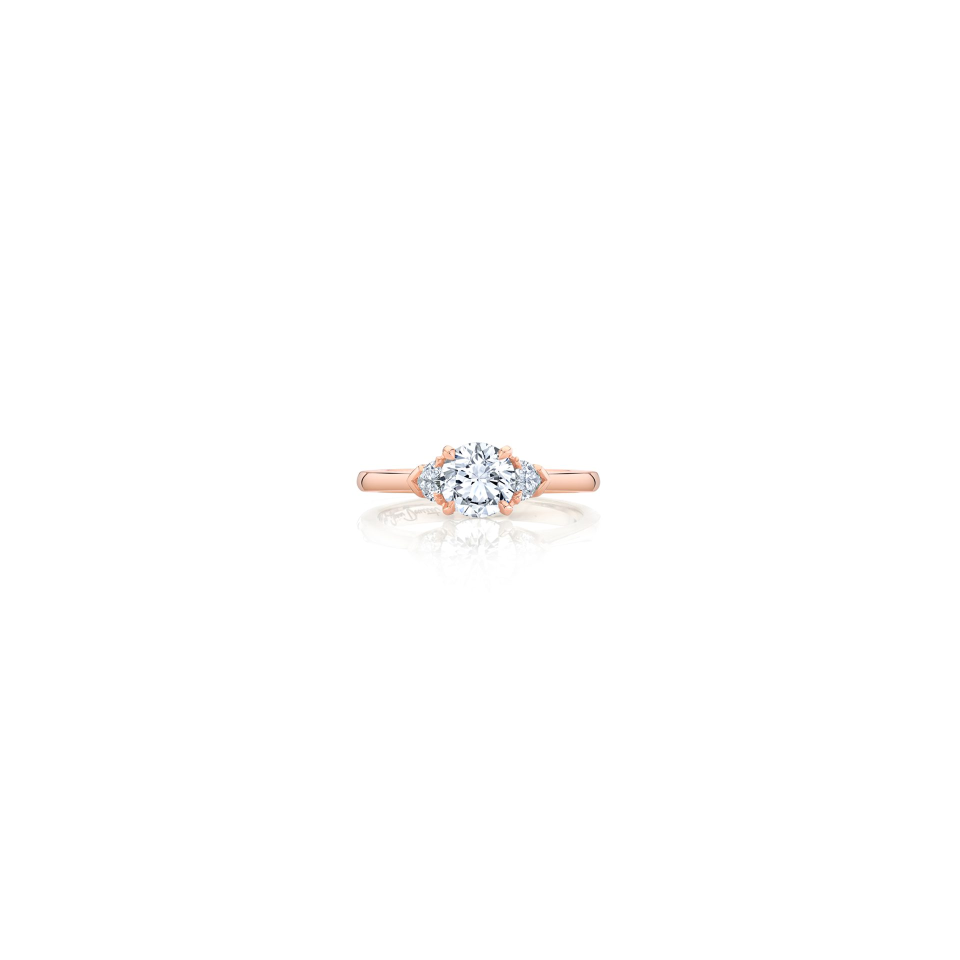 Claire Round Brilliant Three Stone Engagement Ring with heart-shaped diamond side stones in 18k Rose Gold Front View by Oui by Jean Dousset
