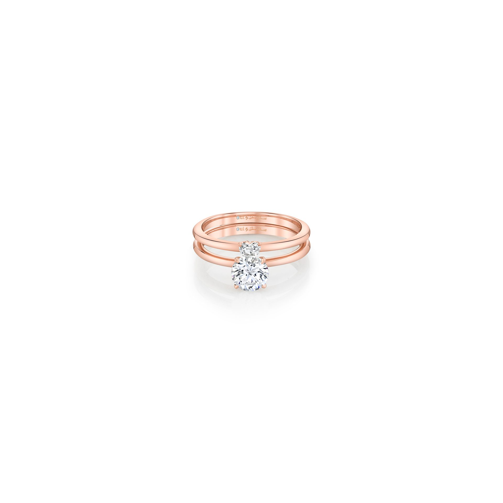 Perfect Duo Interlocking Round Brilliant Solitaire Engagement Ring & Heart Diamond Wedding Band Set in 18k Rose Gold Front View by Oui by Jean Dousset