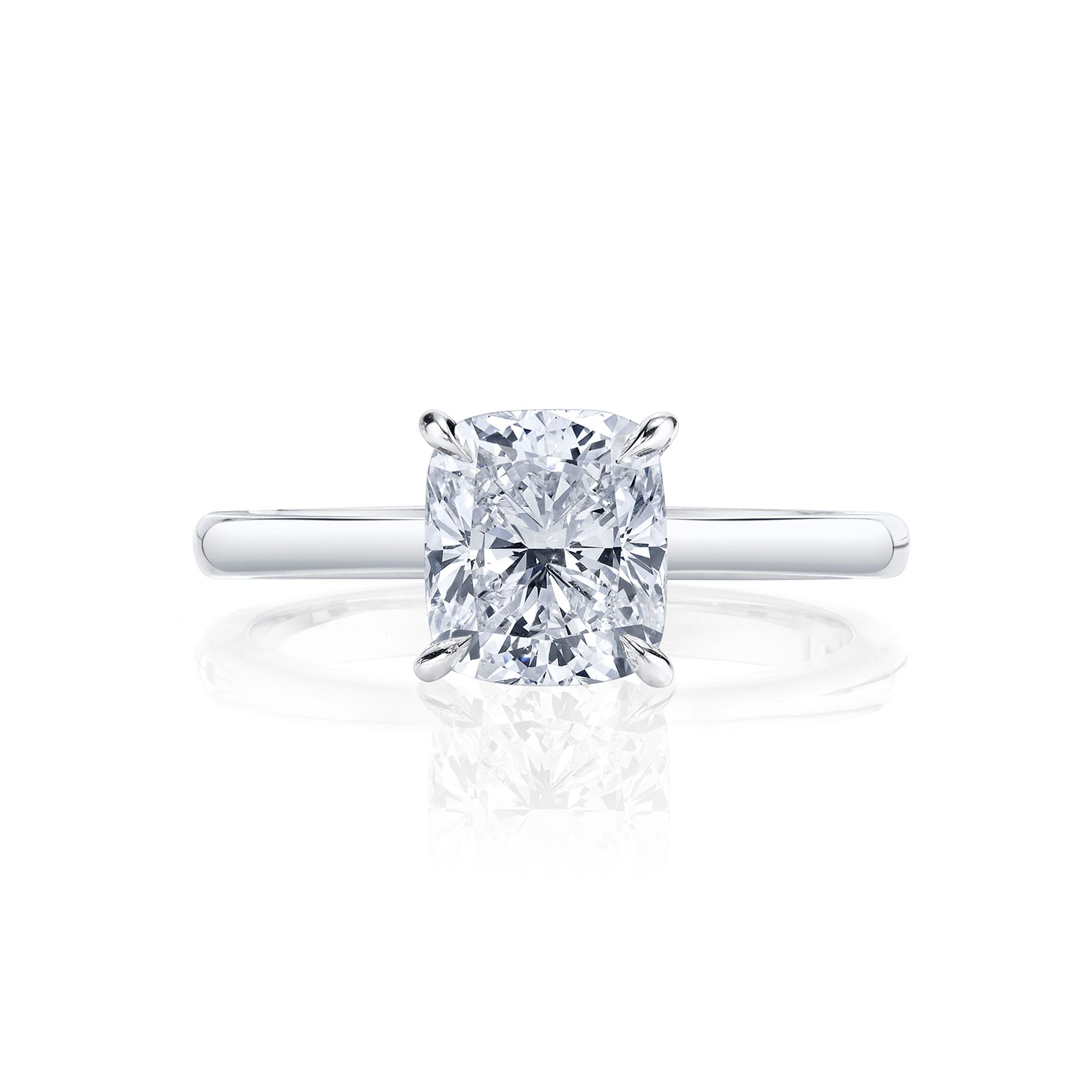 Colette Cushion Solitaire Engagement Ring with a sold band in 18k White Gold Front Shot by Oui by Jean Dousset