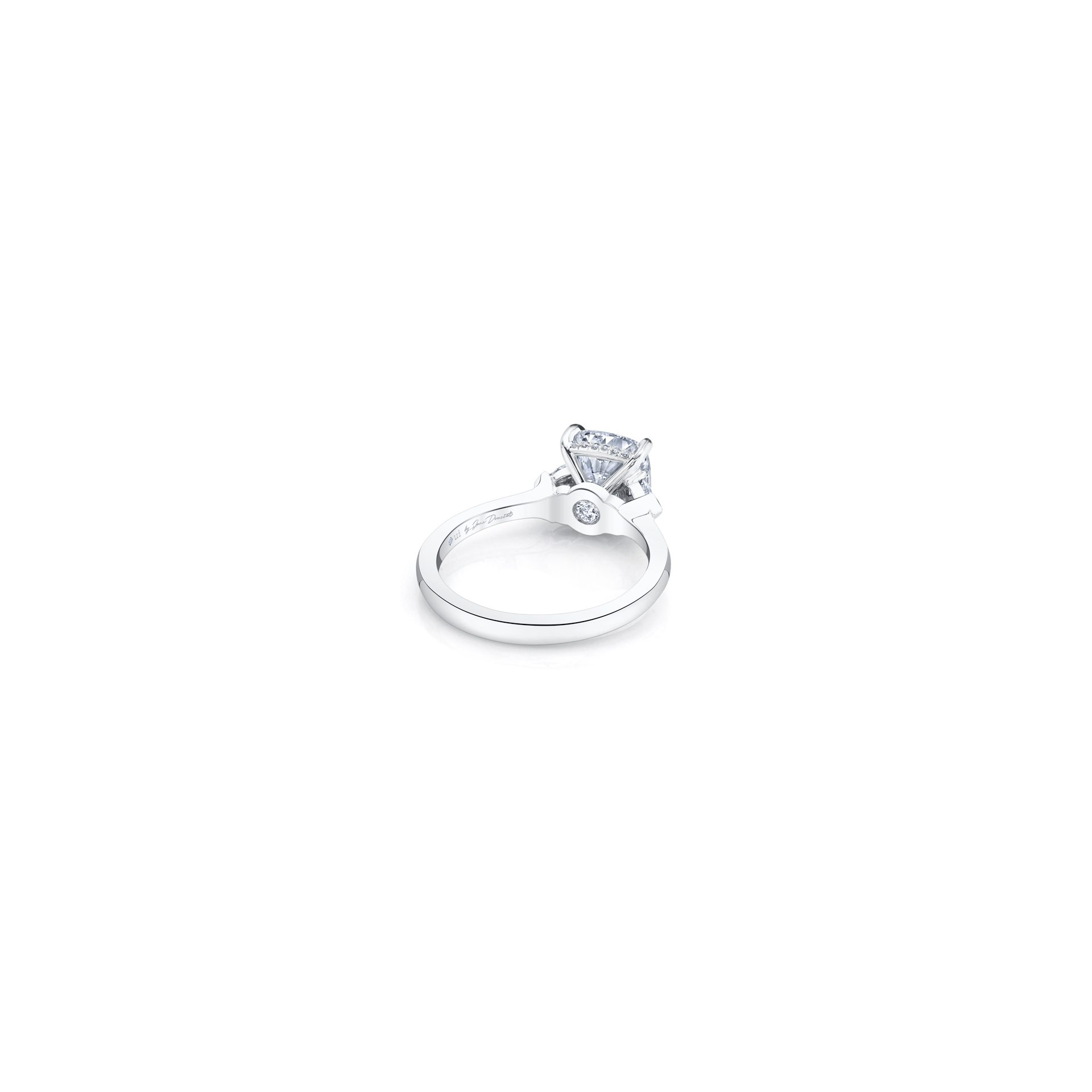 Claire Cushion Three Stone Engagement Ring with heart-shaped diamond side stones in 18k White Gold Back View by Oui by Jean Dousset