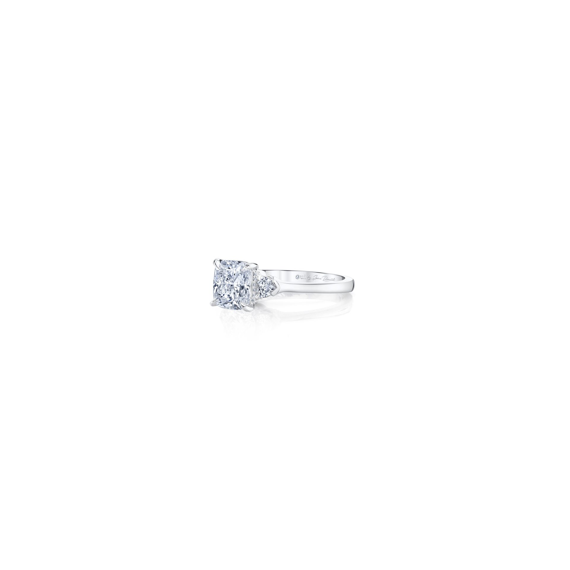 Claire Cushion Three Stone Engagement Ring with heart-shaped diamond side stones in 18k White Gold Side View by Oui by Jean Dousset