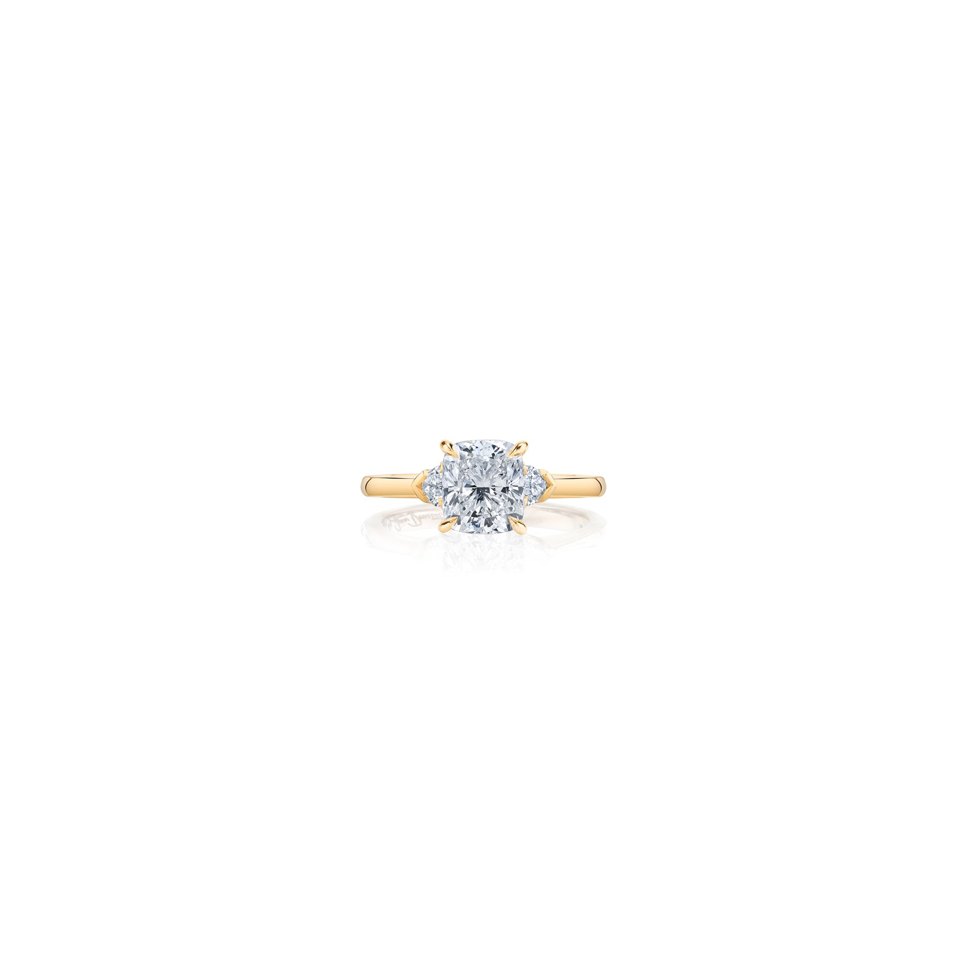 Claire Cushion Three Stone Engagement Ring with heart-shaped diamond side stones in 18k Yellow Gold Front View by Oui by Jean Dousset