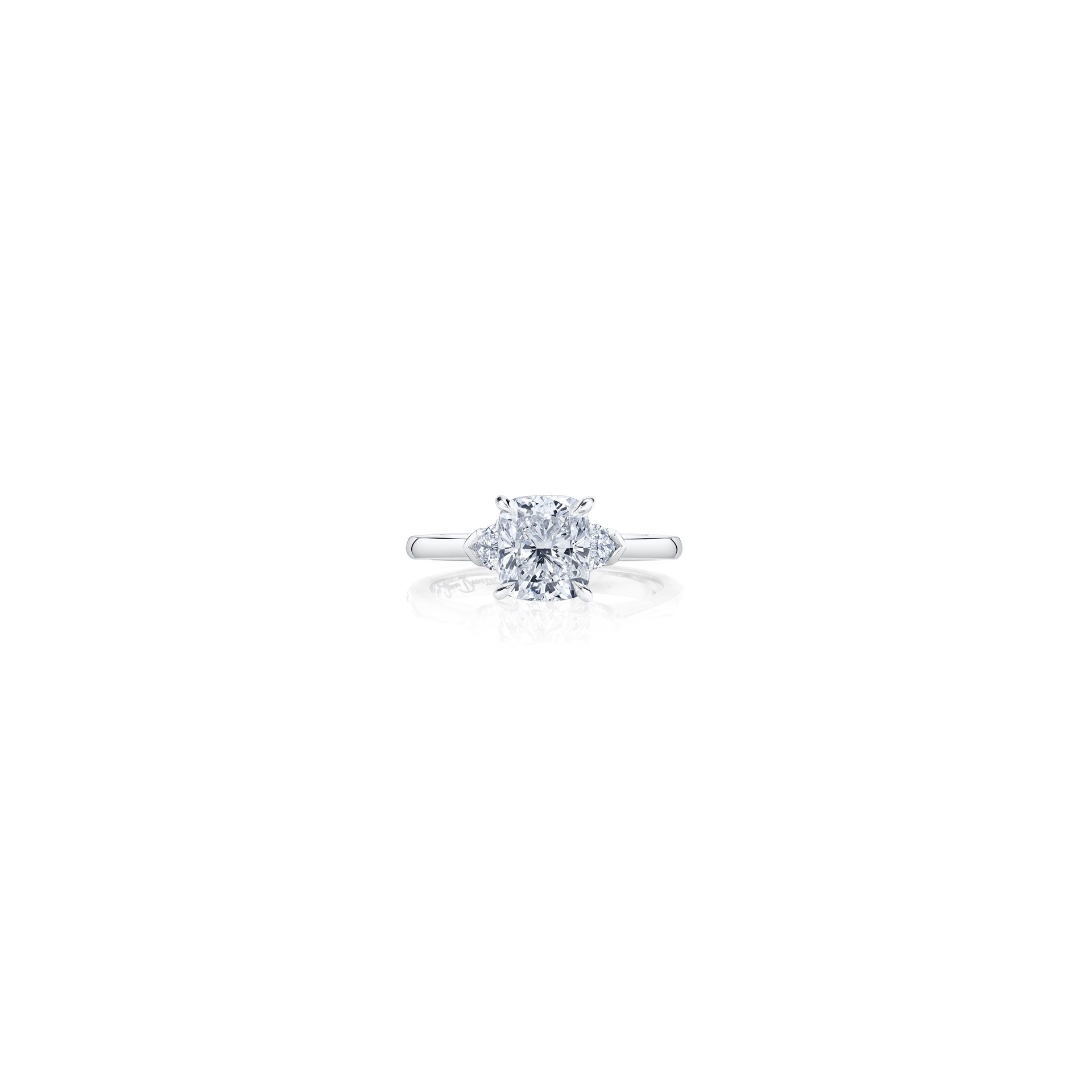Claire Cushion Three Stone Engagement Ring with heart-shaped diamond side stones in 18k White Gold Front View by Oui by Jean Dousset