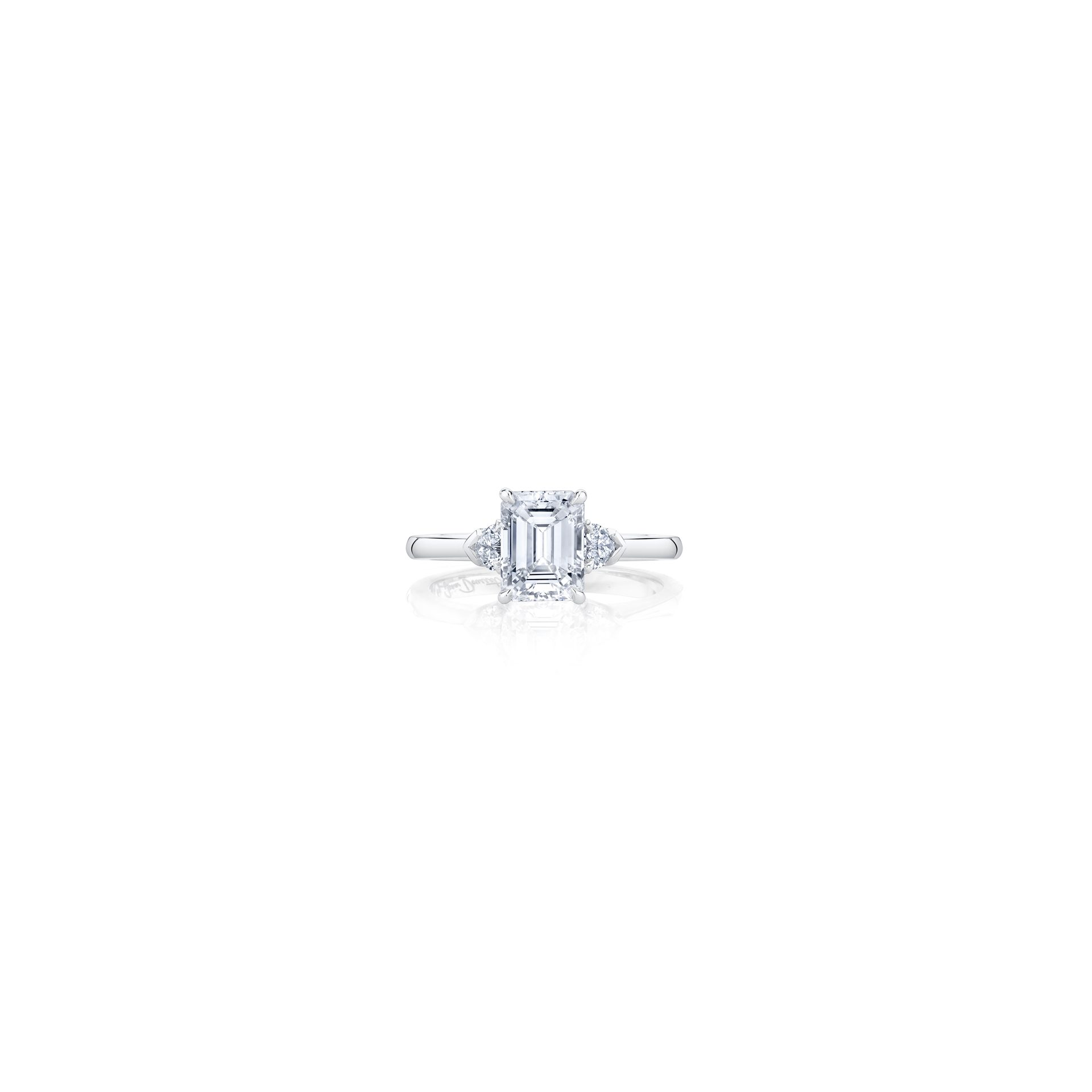 Claire Emerald Three Stone Engagement Ring with heart-shaped diamond side stones in 18k White Gold Front View by Oui by Jean Dousset