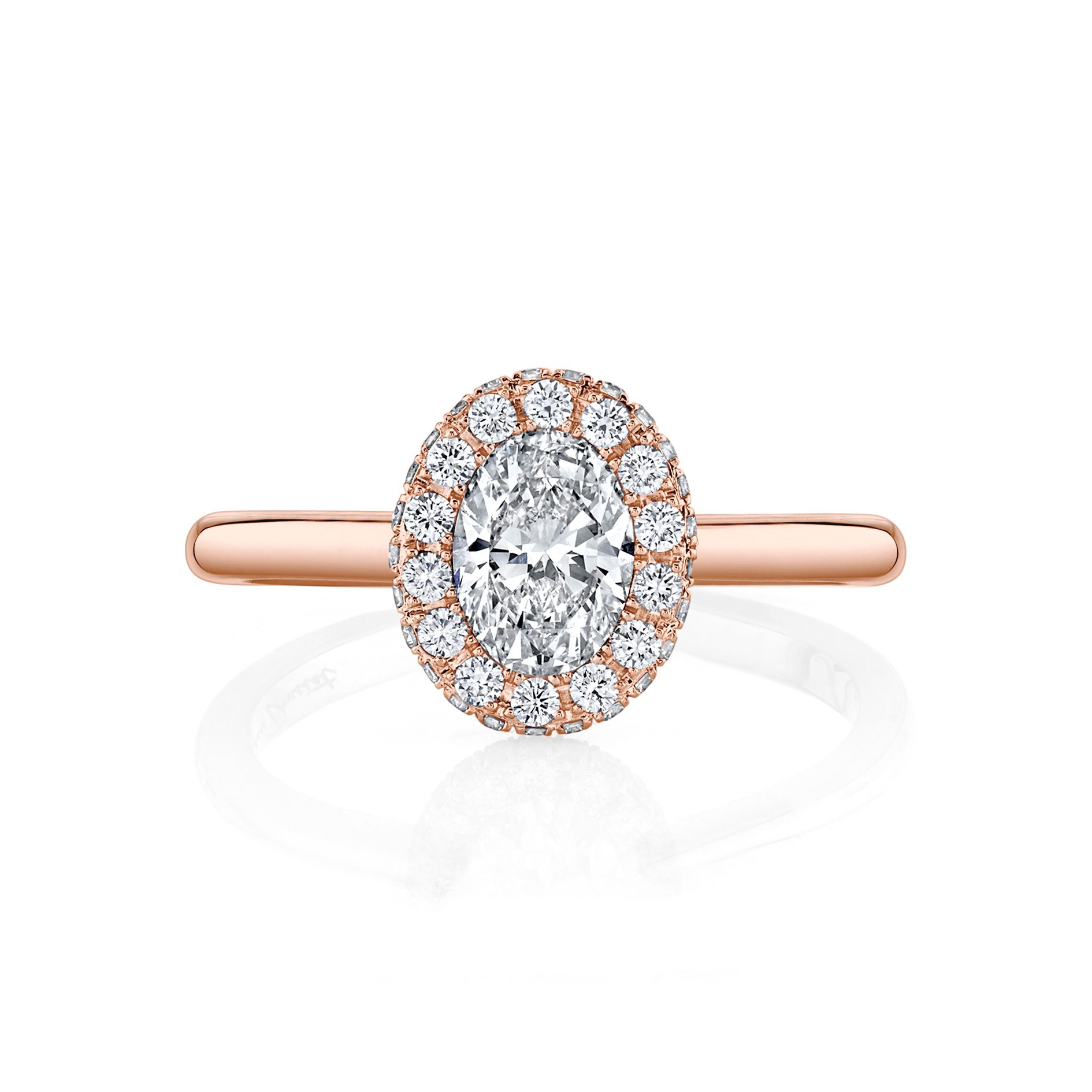 Colette Oval Seamless Halo® Engagement Ring with a solid band in 18k Rose Gold by Oui Front View by Jean Dousset