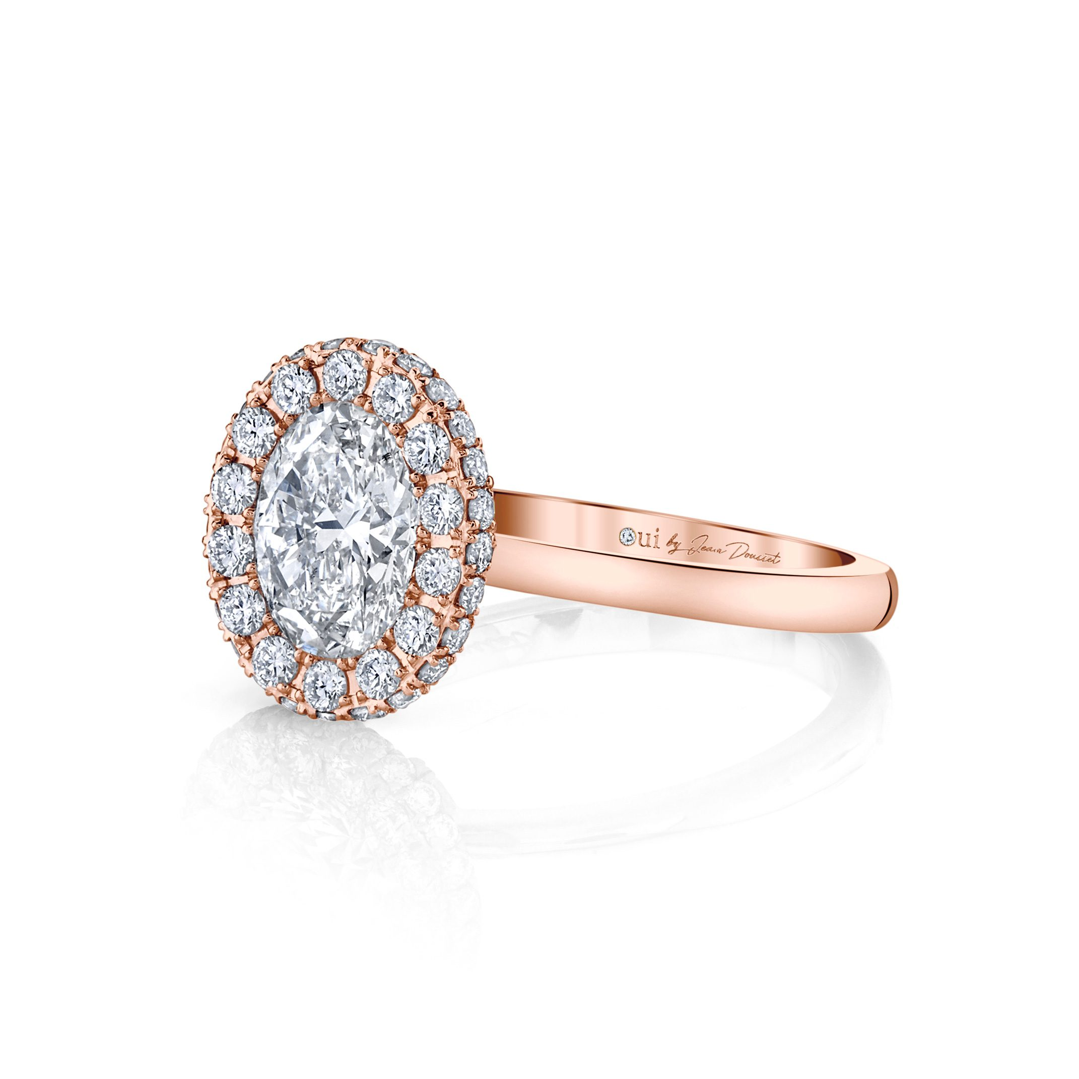 Colette Oval Seamless Halo® Engagement Ring with a solid band in 18k Rose Gold by Oui Side View by Jean Dousset