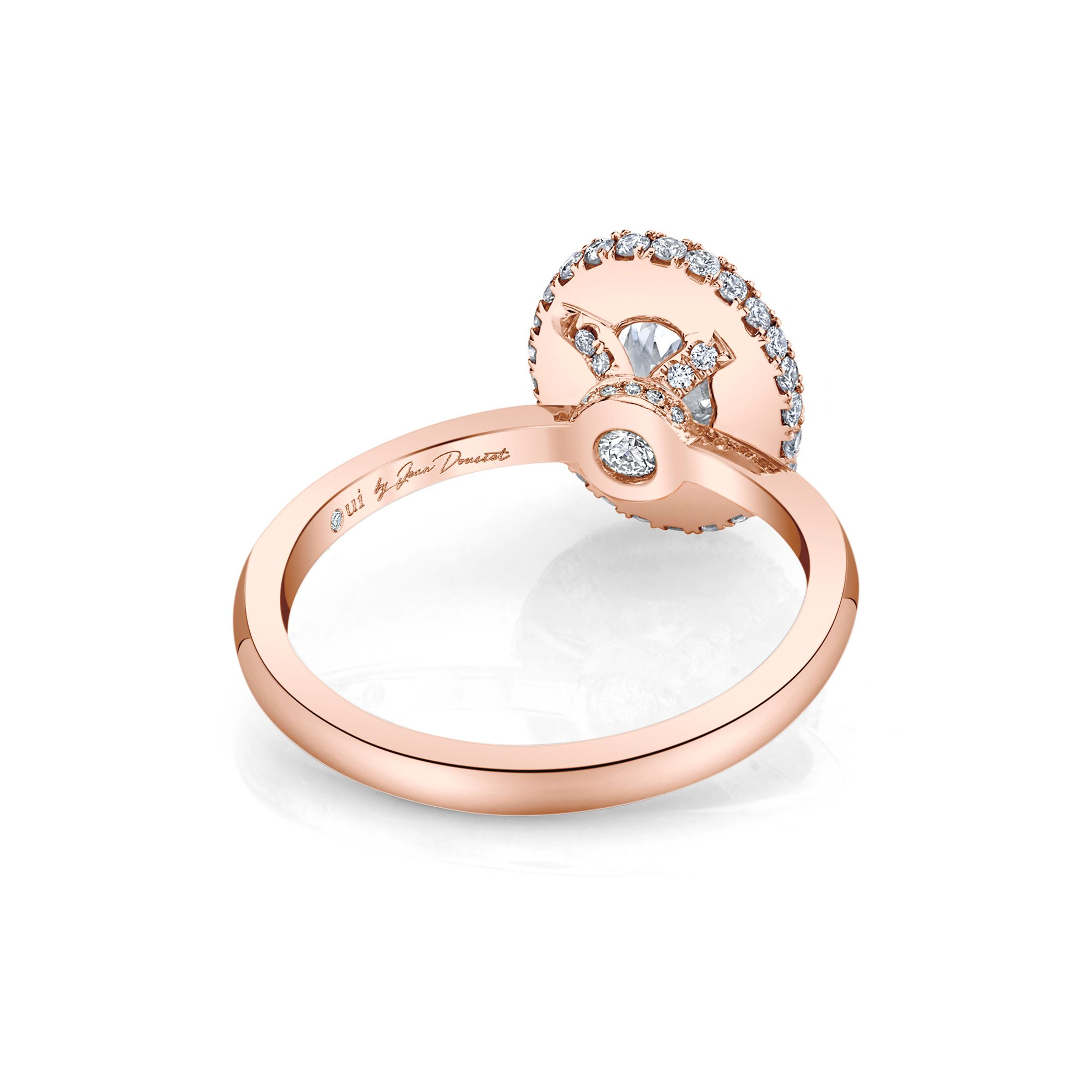 Colette Oval Seamless Halo® Engagement Ring with a solid band in 18k Rose Gold by Oui Back View by Jean Dousset