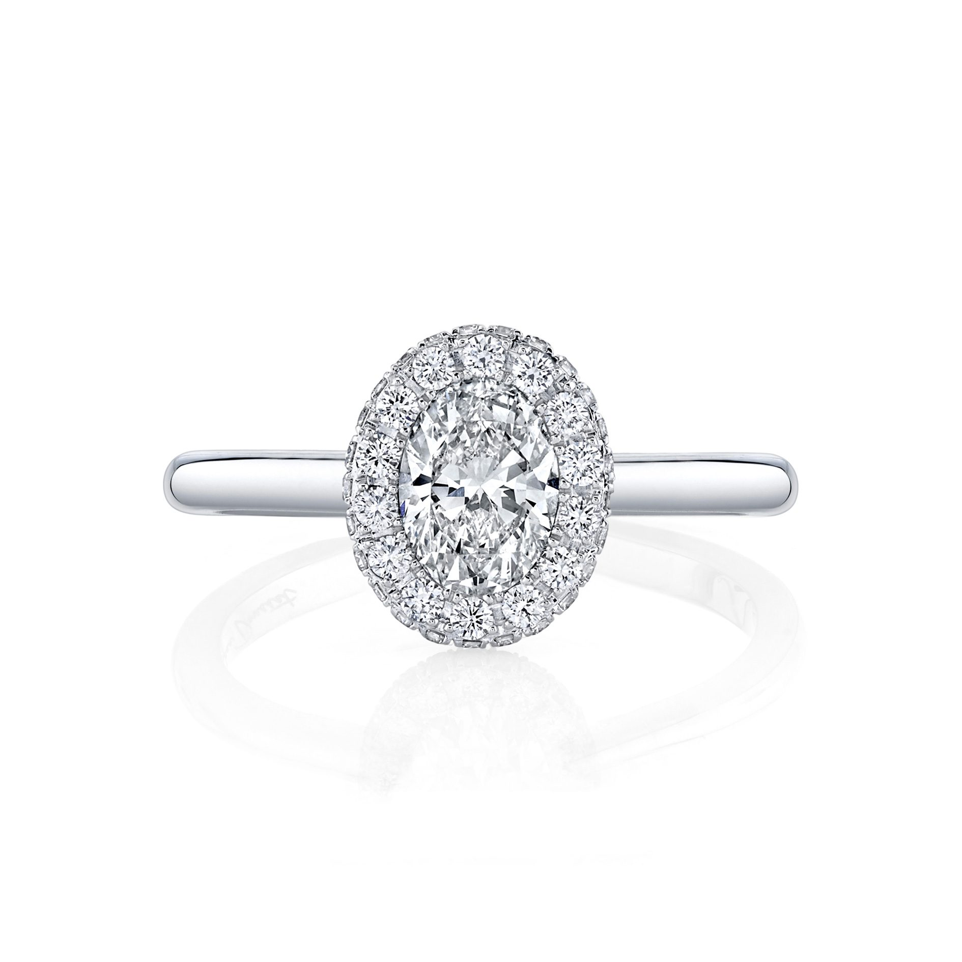 Colette Oval Seamless Halo® Engagement Ring with a solid band in 18k White Gold by Oui Front View by Jean Dousset