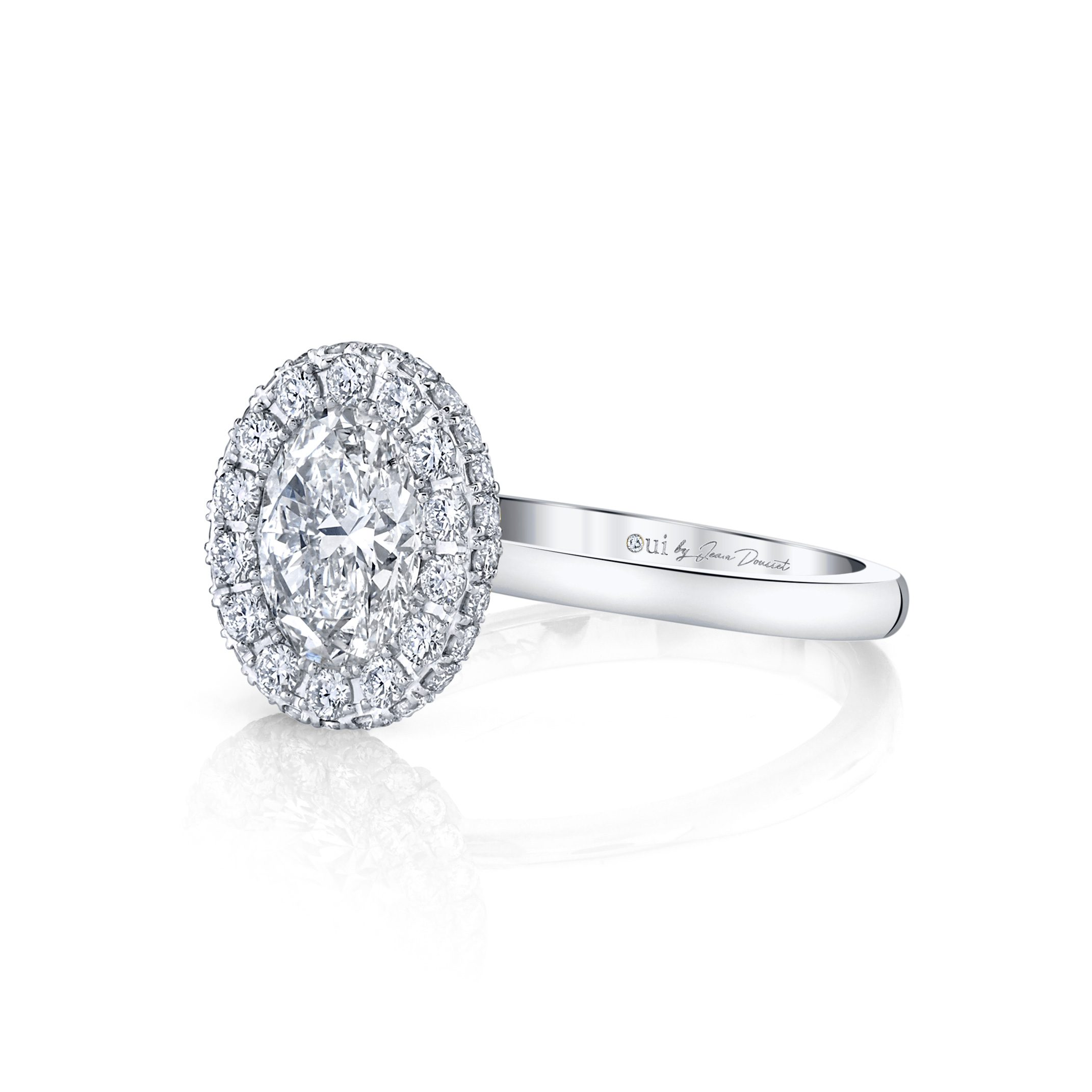 Colette Oval Seamless Halo® Engagement Ring with a solid band in 18k White Gold by Oui Side View by Jean Dousset