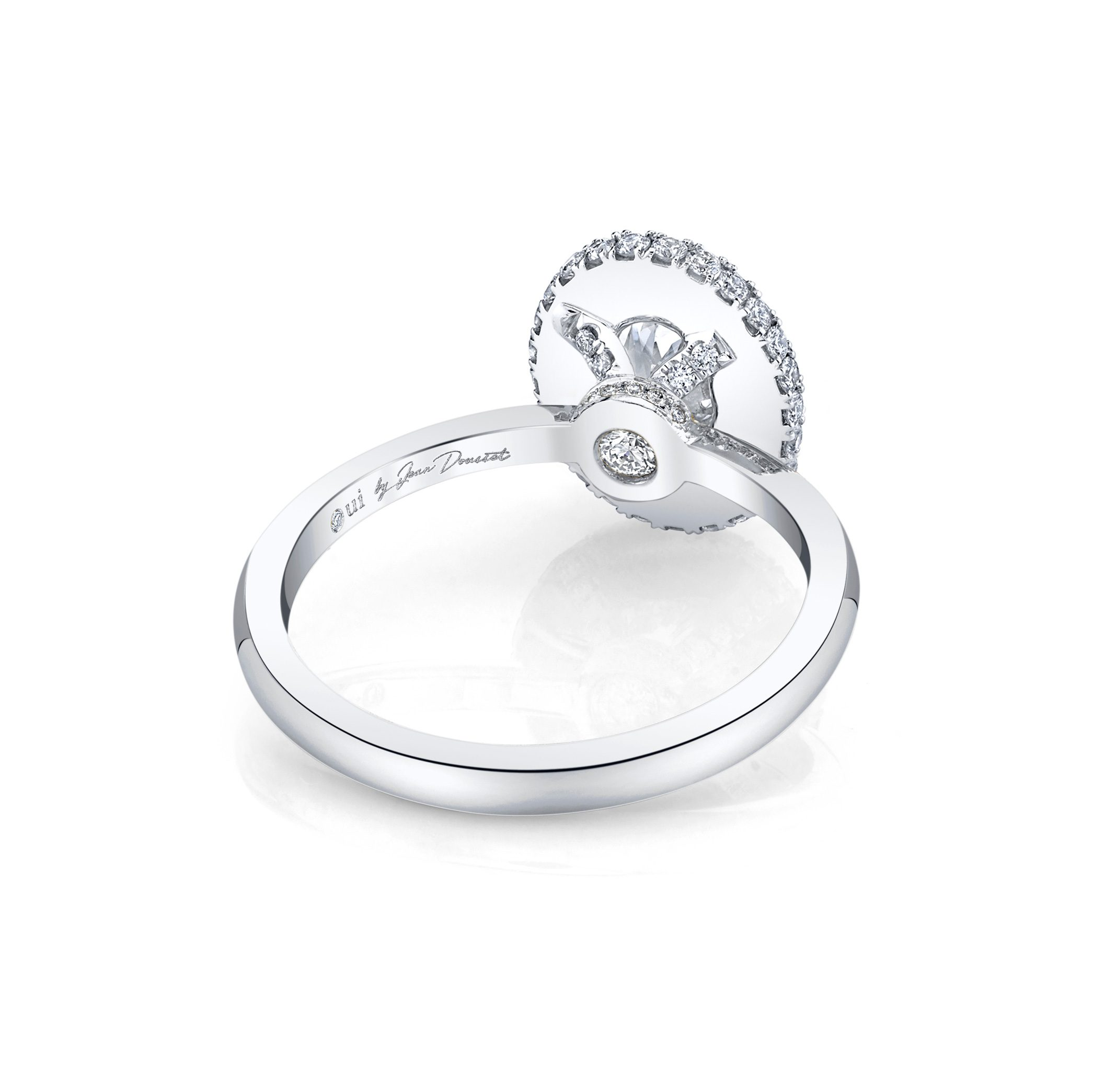 Colette Oval Seamless Halo® Engagement Ring with a solid band in 18k White Gold by Oui Back View by Jean Dousset