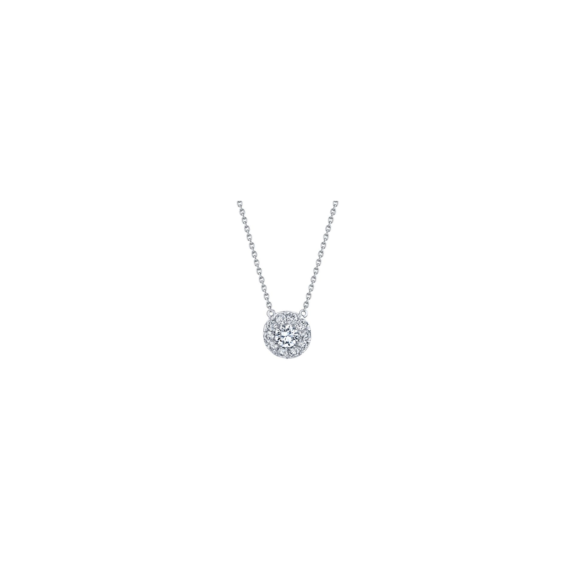 Lucile Round Brilliant Seamless Solitaire™ Diamond Pendant in 18k White Gold Front View by Oui by Jean Dousset