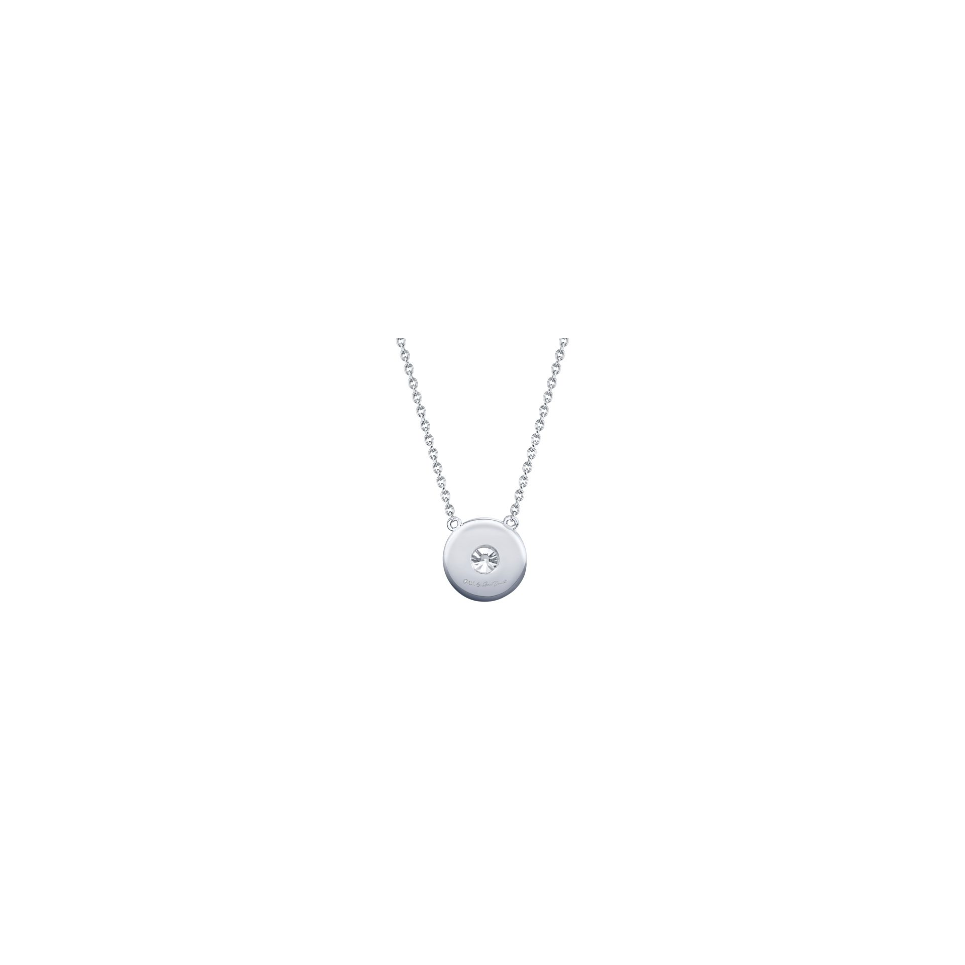 Lucile Round Brilliant Seamless Solitaire™ Diamond Pendant in 18k White Gold Back View by Oui by Jean Dousset