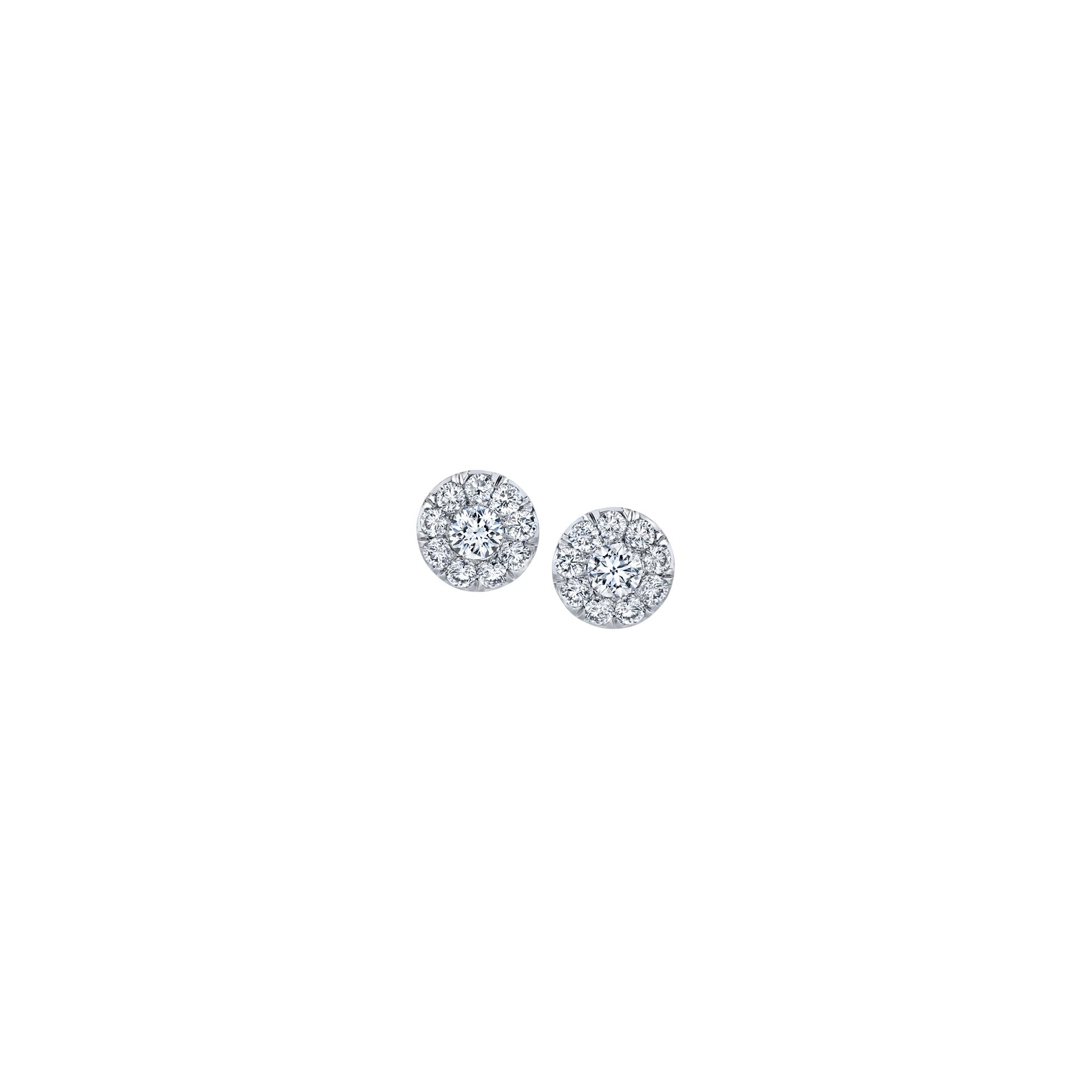 Celine Round Brilliant Seamless Solitaire® Diamond Stud Earrings in 18k White Gold Front View by Oui by Jean Dousset