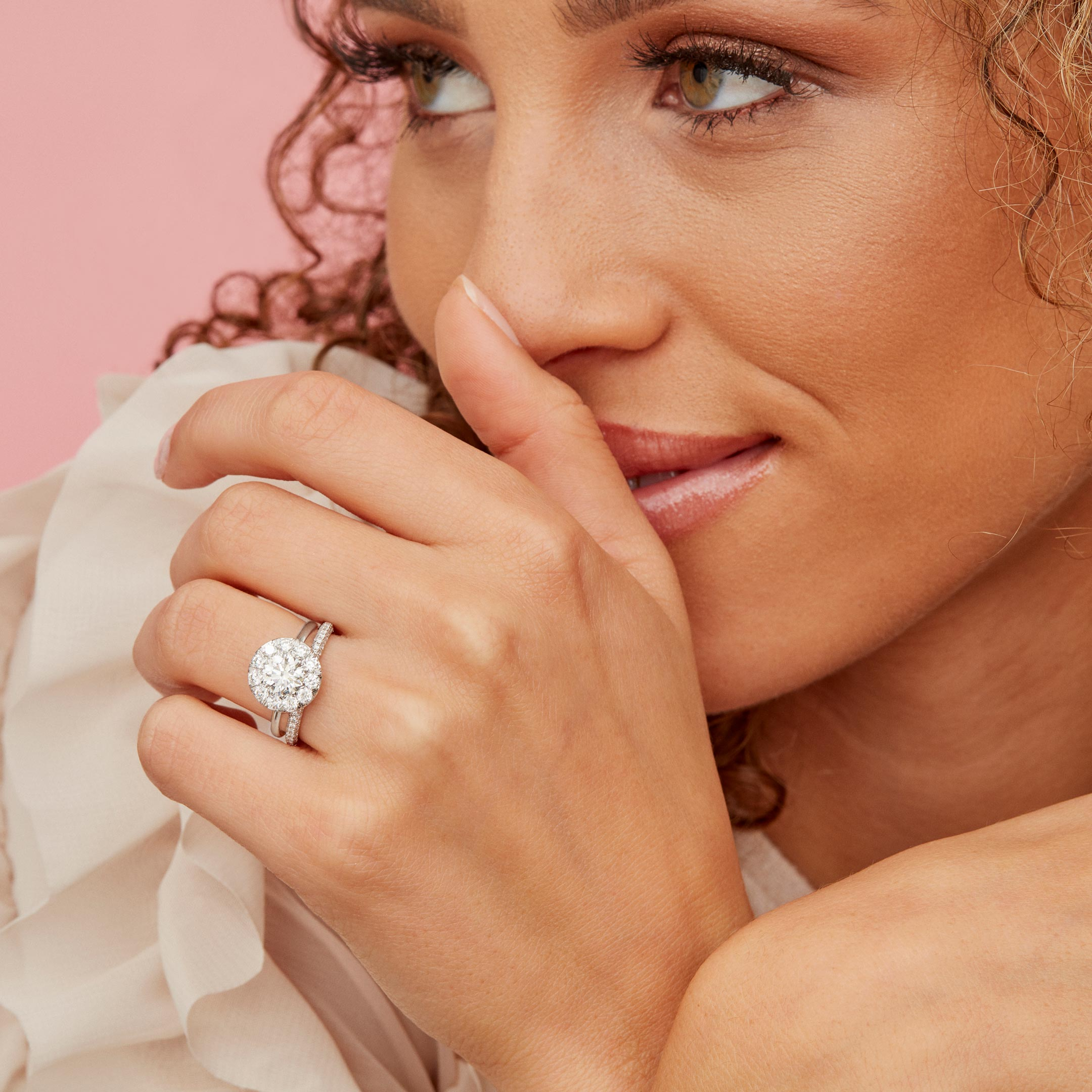 Colette Round Brilliant Seamless Solitaire™ Engagement Ring with a solid band in Platinum Model Lifestyle by Oui by Jean Dousset