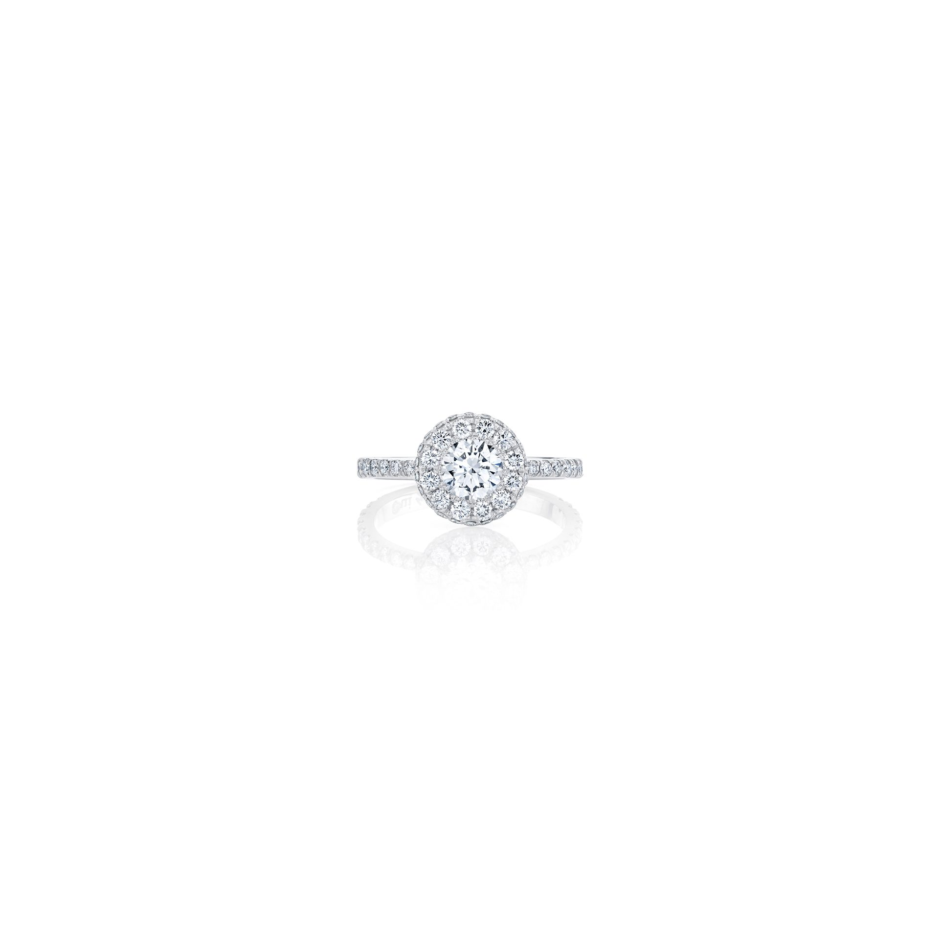 Eloise Round Brilliant Seamless Halo® Engagement Ring with diamond pavé in 18k White Gold Front View by Oui by Jean Dousset