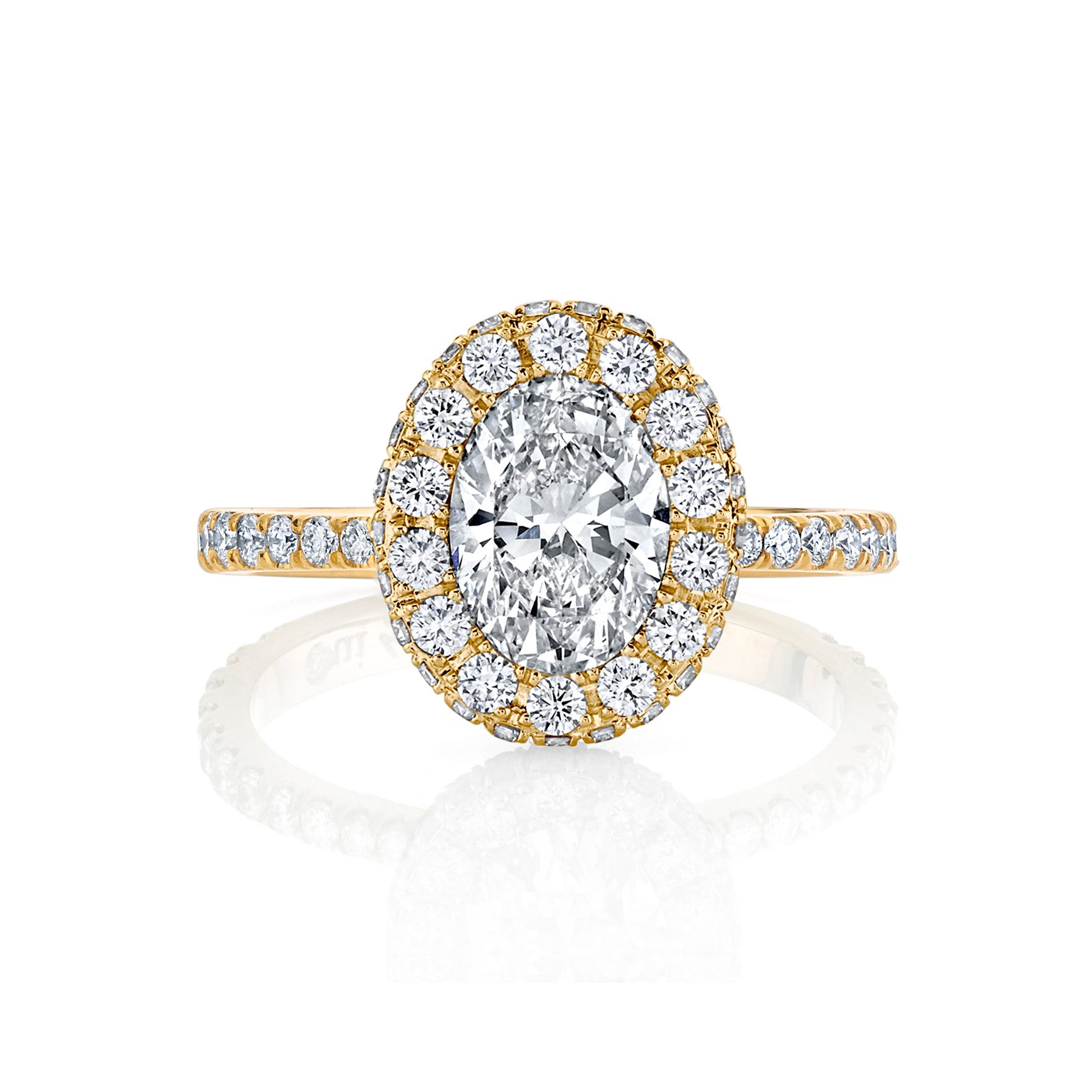 Eloise Oval Seamless Halo® Engagement Ring with diamond pavé in 18k Yellow Gold Front View by Oui by Jean Dousset