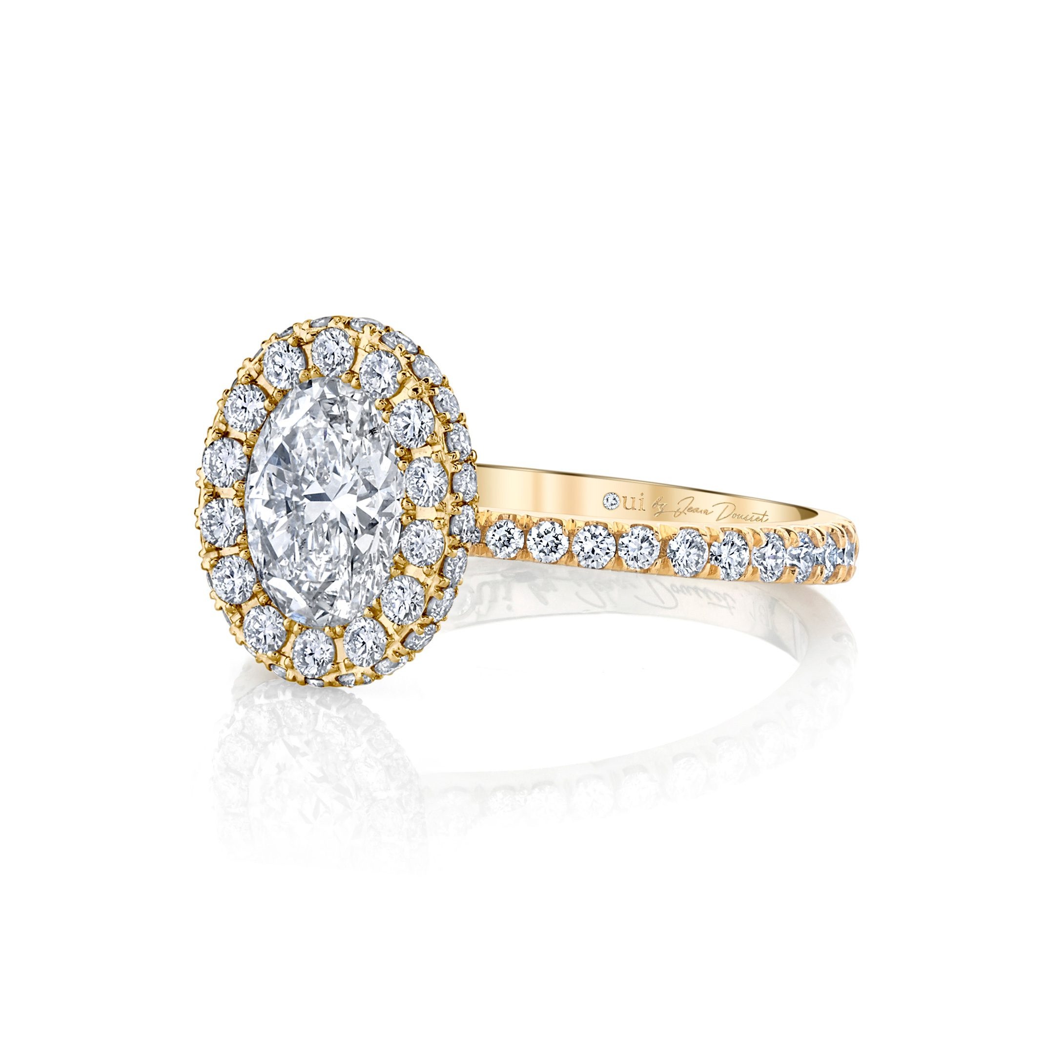 Eloise Oval Seamless Halo® Engagement Ring with diamond pavé in 18k Yellow Gold Side View by Oui by Jean Dousset
