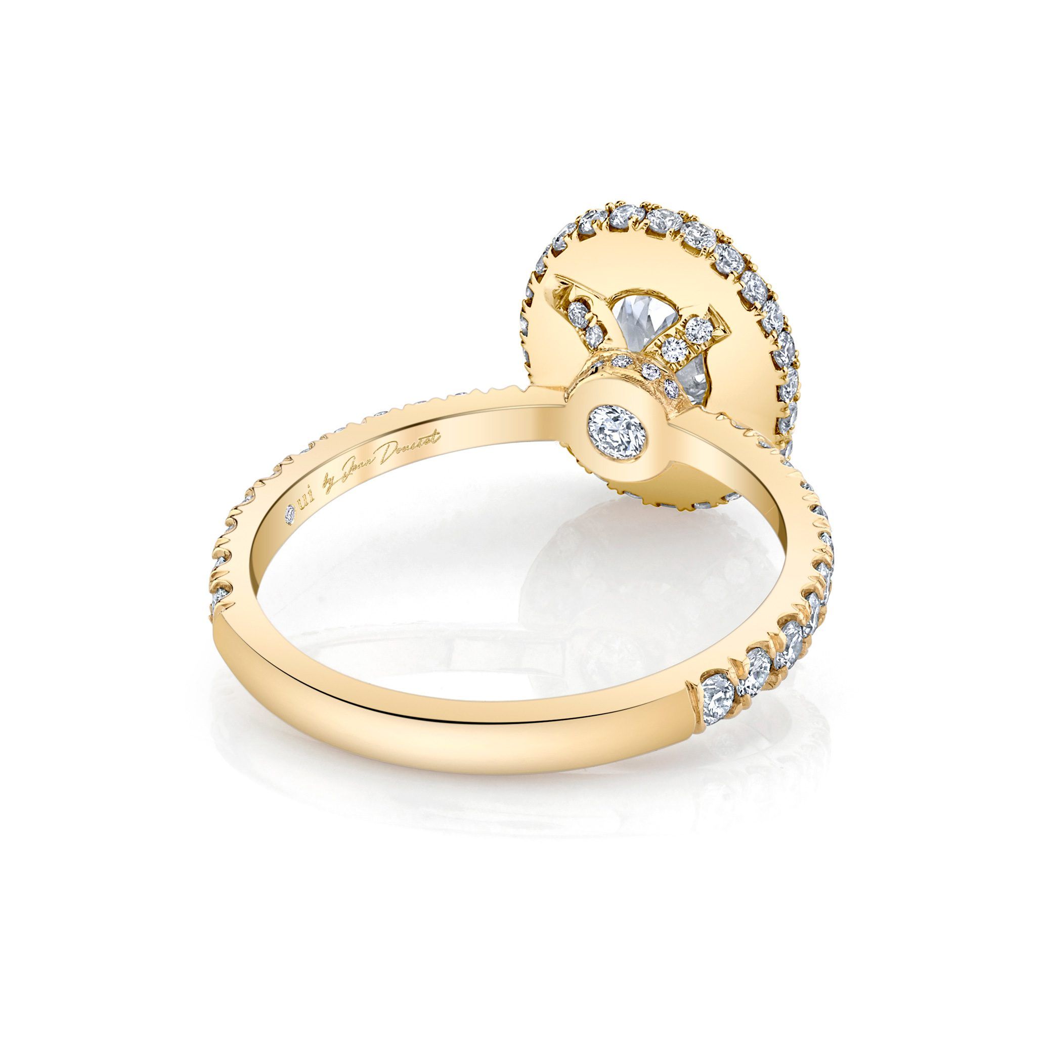 Eloise Oval Seamless Halo® Engagement Ring with diamond pavé in 18k Yellow Gold Back View by Oui by Jean Dousset