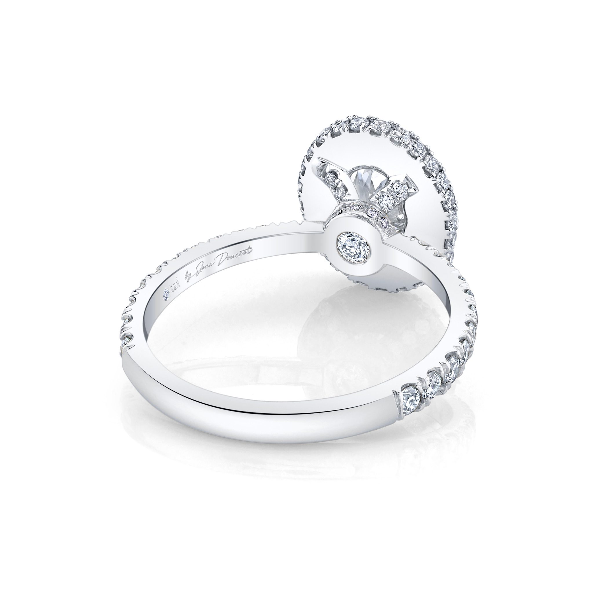 Eloise Oval Seamless Halo® Engagement Ring with diamond pavé in 18k White Gold Back View by Oui by Jean Dousset