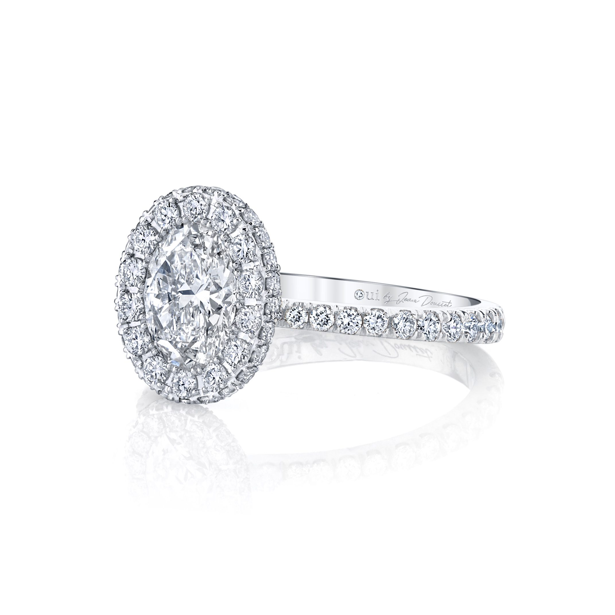 Eloise Oval Seamless Halo® Engagement Ring with diamond pavé in 18k White Gold Side View by Oui by Jean Dousset