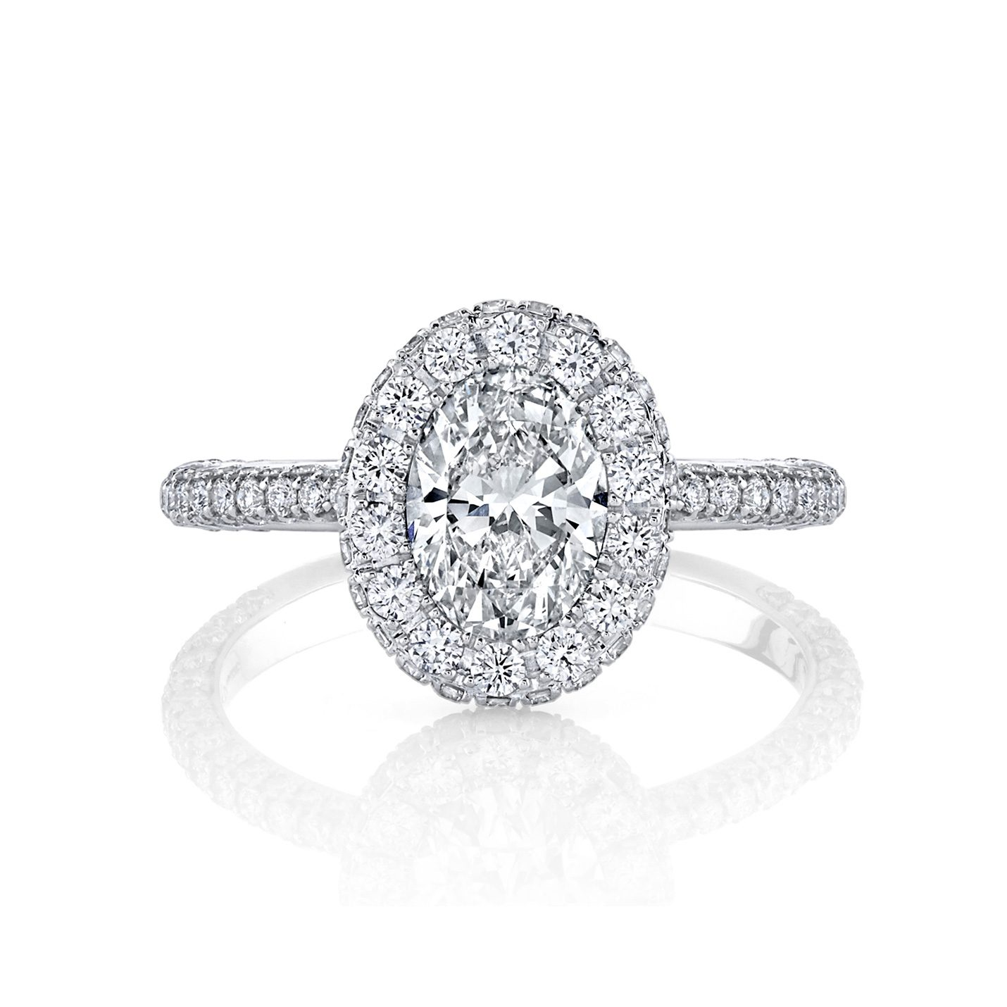 Jacqueline Oval Seamless Halo® Engagement Ring with diamond pavé in 18k White Gold Front View by Oui by Jean Dousset
