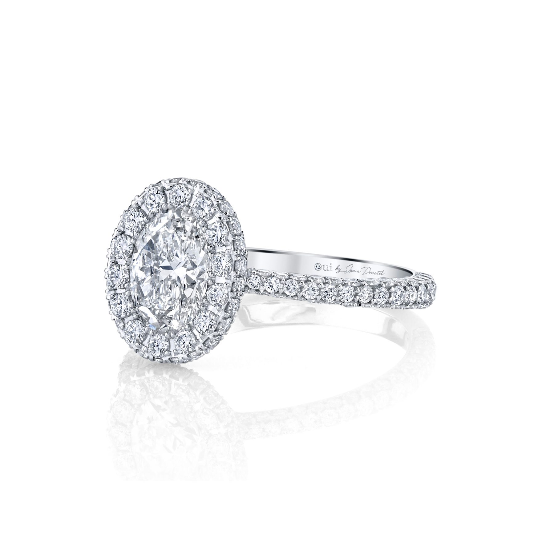 Jacqueline Oval Seamless Halo® Engagement Ring with diamond pavé in 18k White Gold Side View by Oui by Jean Dousset