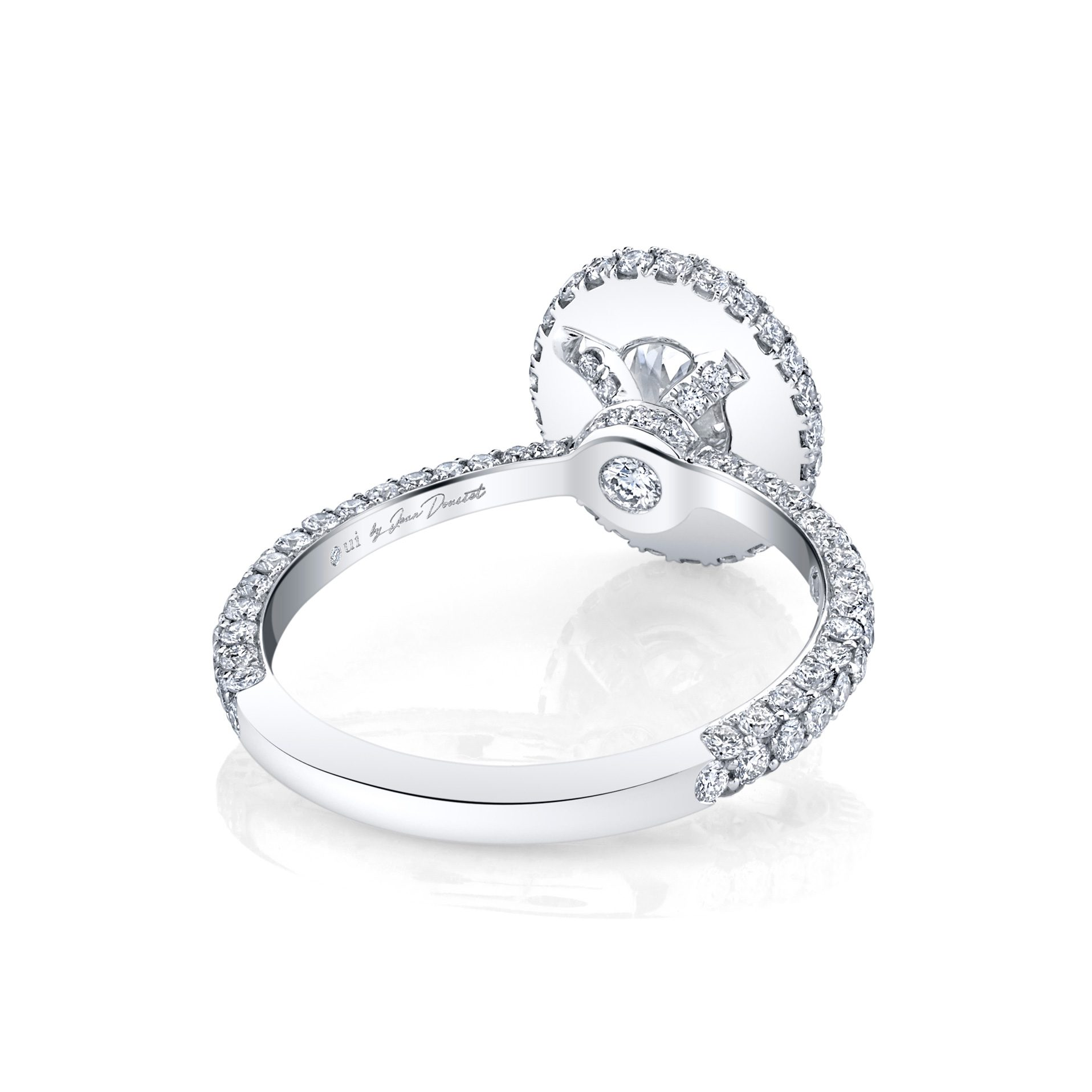 Jacqueline Oval Seamless Halo® Engagement Ring with diamond pavé in 18k White Gold Back View by Oui by Jean Dousset