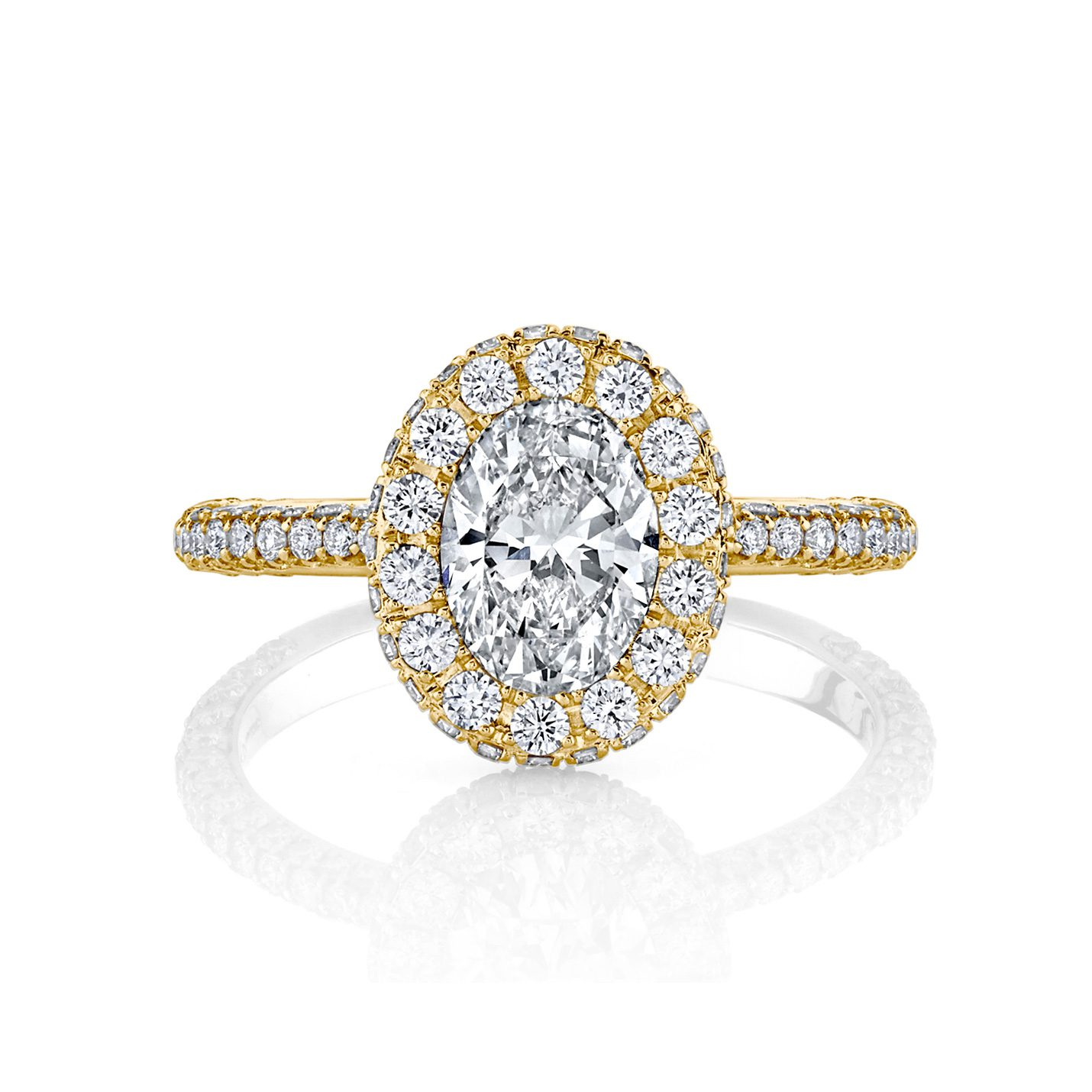 Jacqueline Oval Seamless Halo® Engagement Ring with diamond pavé in 18k Yellow Gold Front View by Oui by Jean Dousset