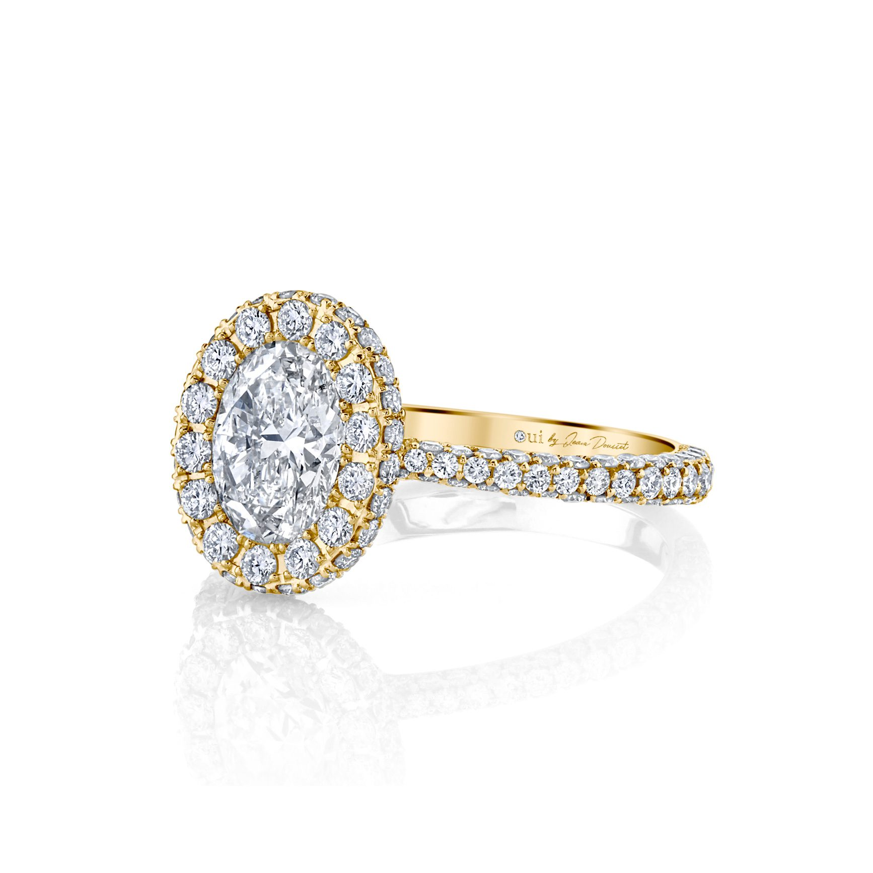 Jacqueline Oval Seamless Halo® Engagement Ring with diamond pavé in 18k Yellow Gold Side View by Oui by Jean Dousset