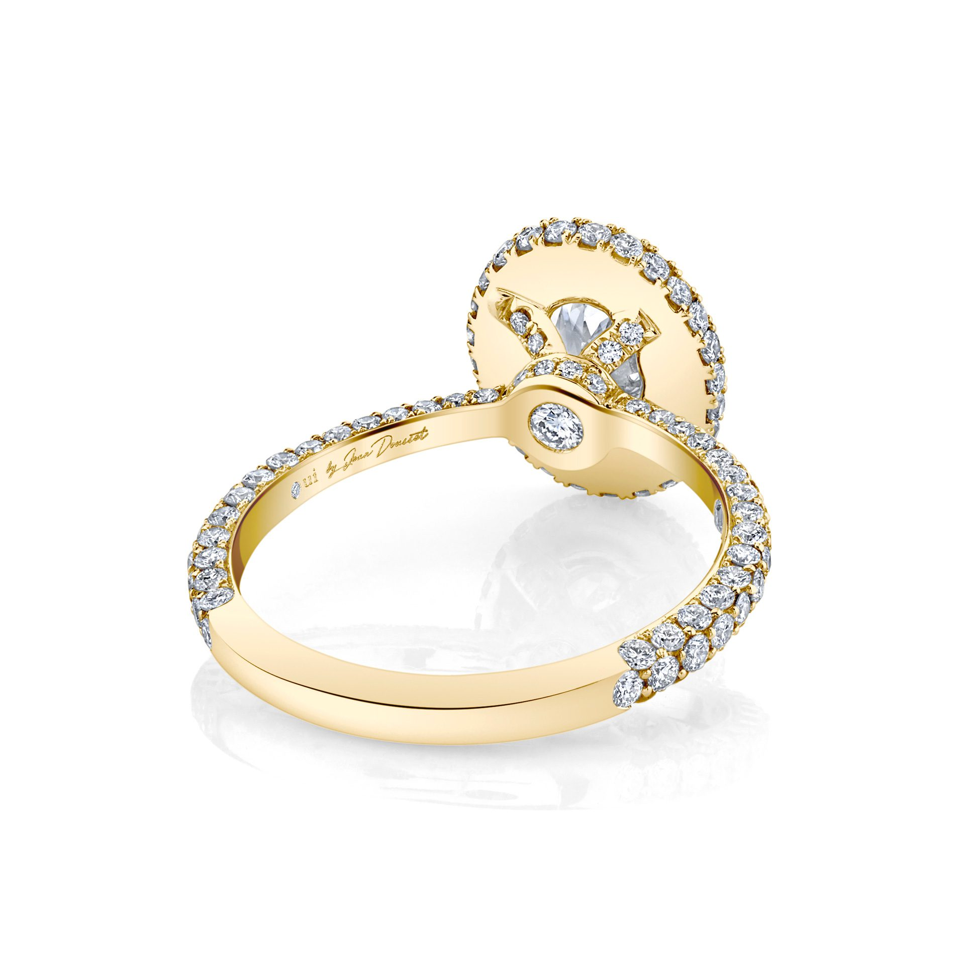 Jacqueline Oval Seamless Halo® Engagement Ring with diamond pavé in 18k Yellow Gold Back View by Oui by Jean Dousset