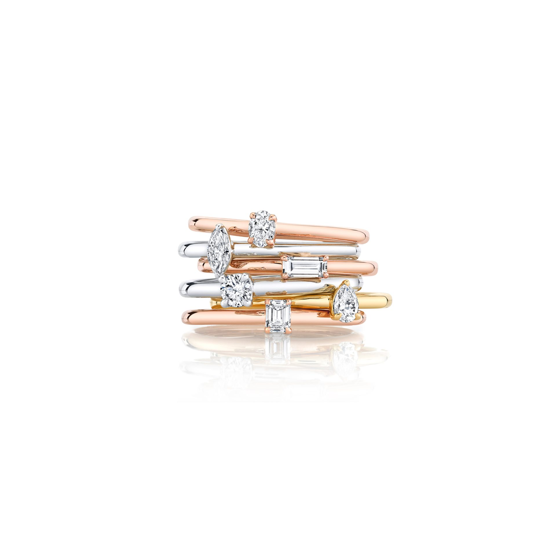 Le Petite Diamond Wedding Bands Stack of Rings by Oui by Jean Dousset