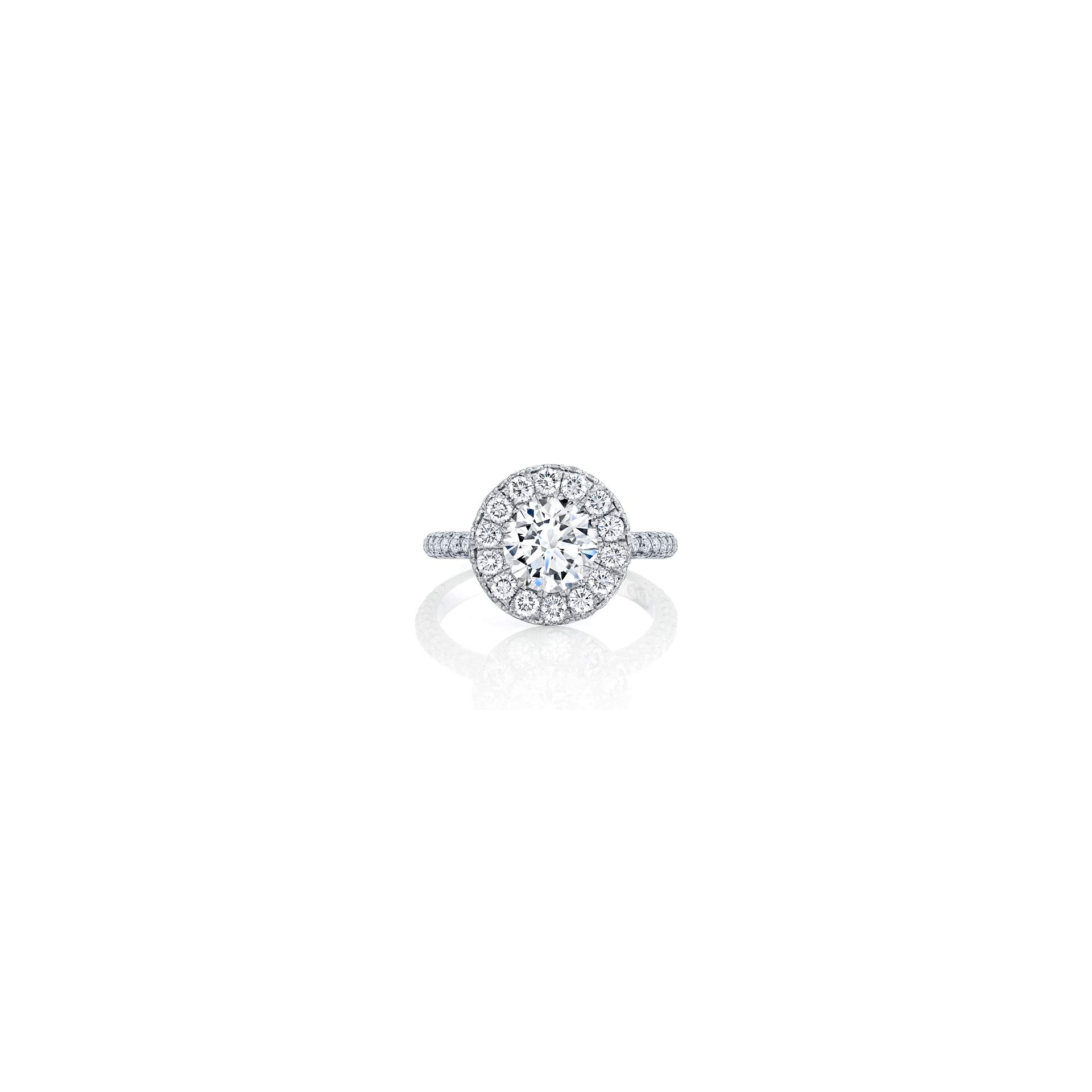 Jacqueline Round Brilliant Seamless Halo® Engagement Ring with diamond pavé in 18k White Gold Front View by Oui by Jean Dousset