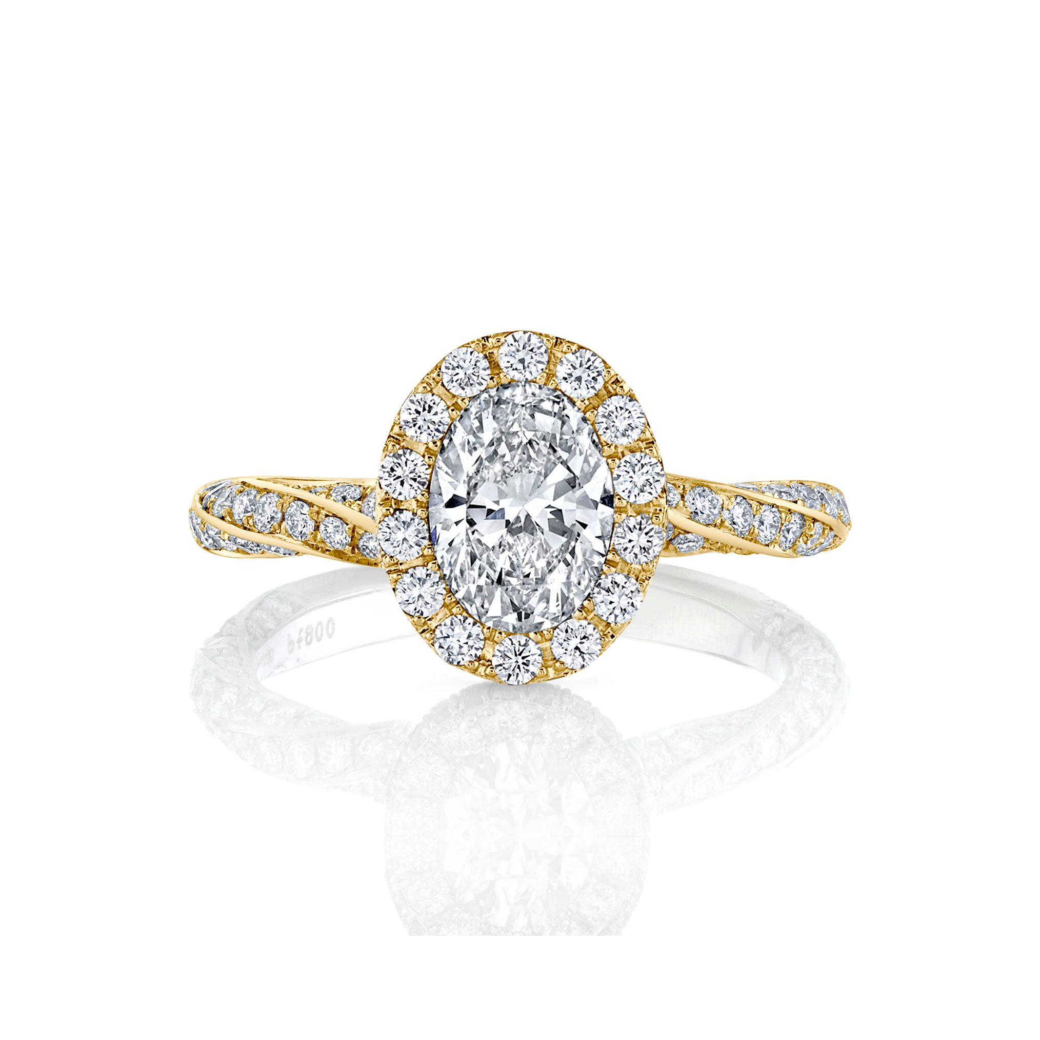Camille Oval Seamless Halo® Engagement Ring with diamond pavé in 18k Yellow Gold Front View by Oui by Jean Dousset