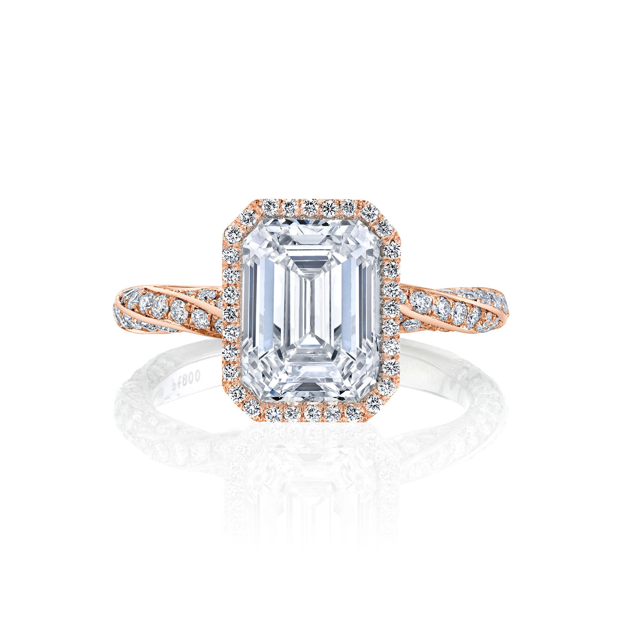 Camille Seamless Halo® Engagement Ring Emerald Cut with 18k rose gold twisted pavé band