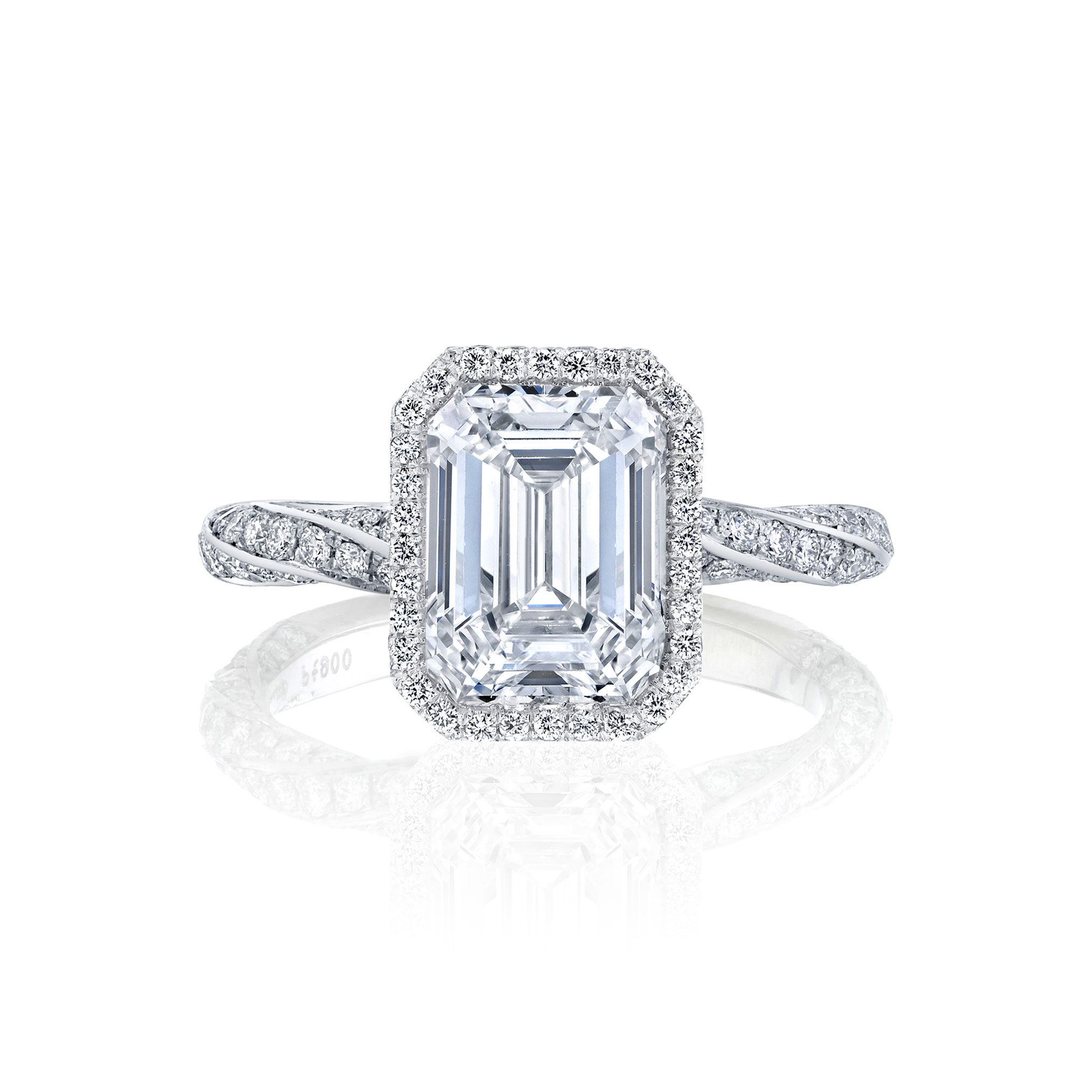 Camille Seamless Halo® Engagement Ring Emerald Cut with 18k white gold twisted pavé band