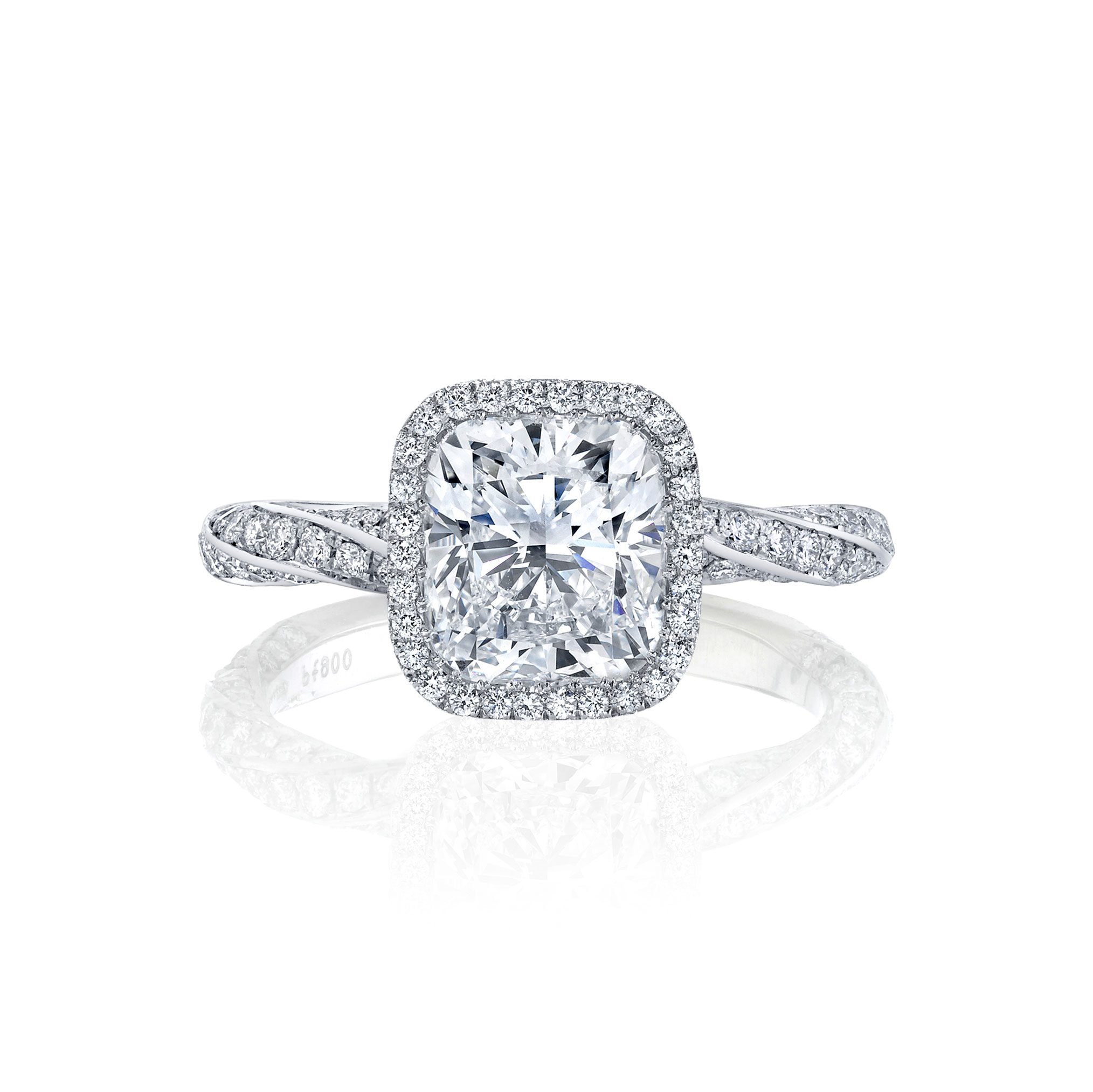 Camille Seamless Halo® Engagement Ring Cushion Cut with 18k white gold twisted pavé band