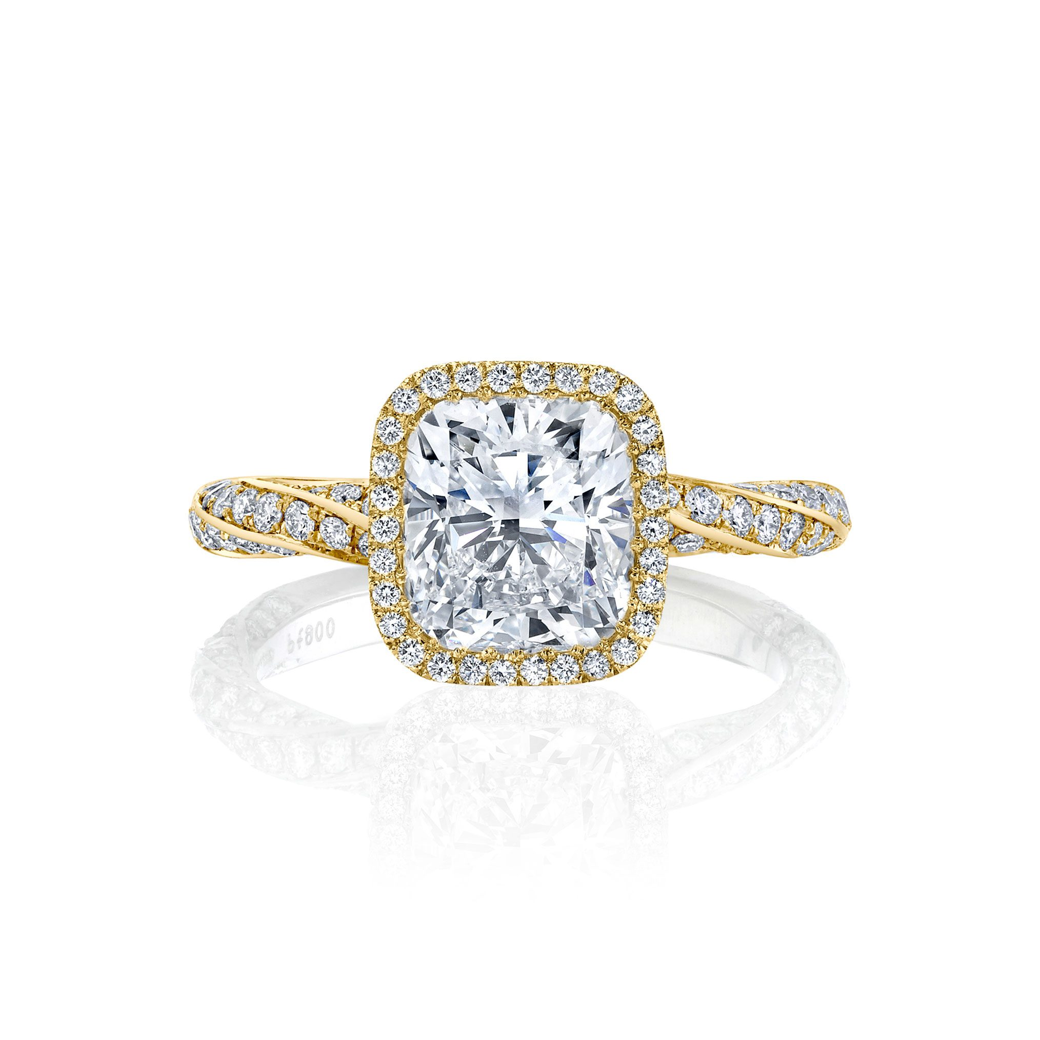 Camille Seamless Halo® Engagement Ring Cushion Cut with 18k yellow gold twisted pavé bandCamille Seamless Halo® Engagement Ring Cushion Cut with 18k yellow gold twisted pavé band