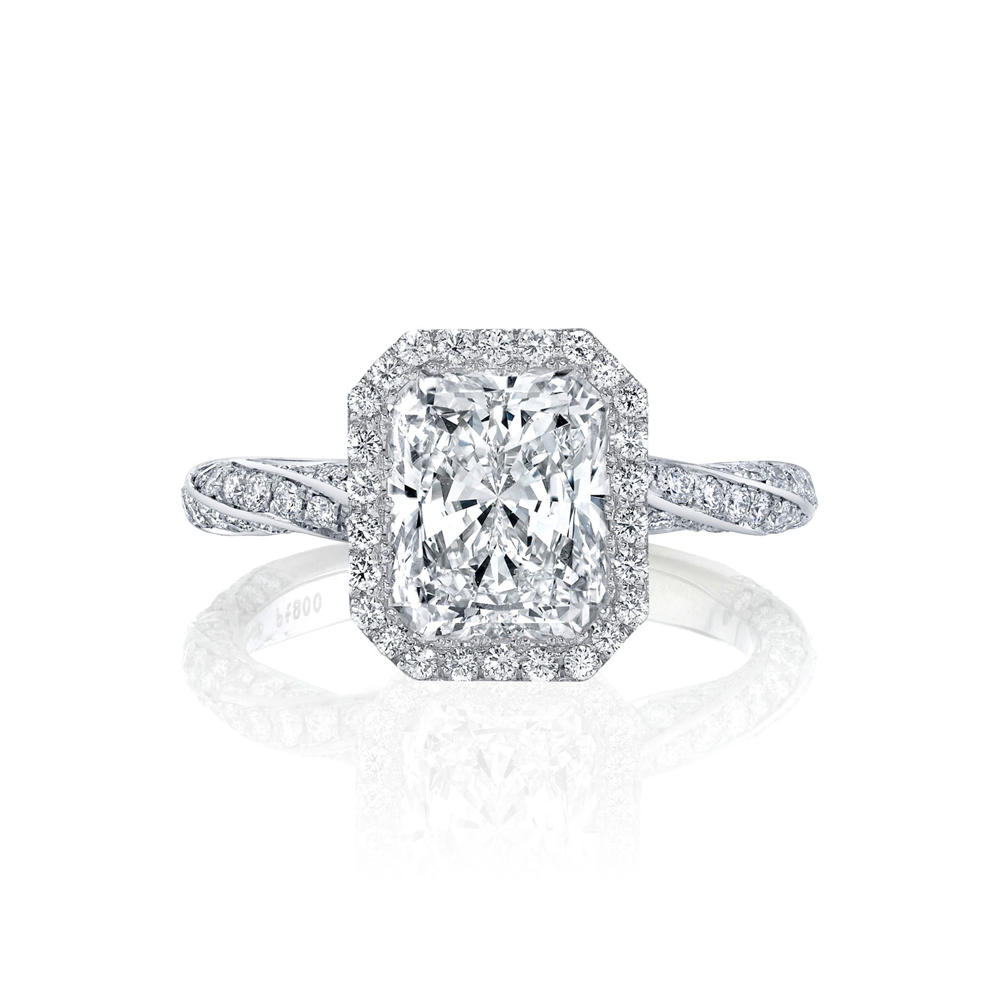 Camille Seamless Halo® Engagement Ring Radiant Cut with 18k white gold twisted pavé band