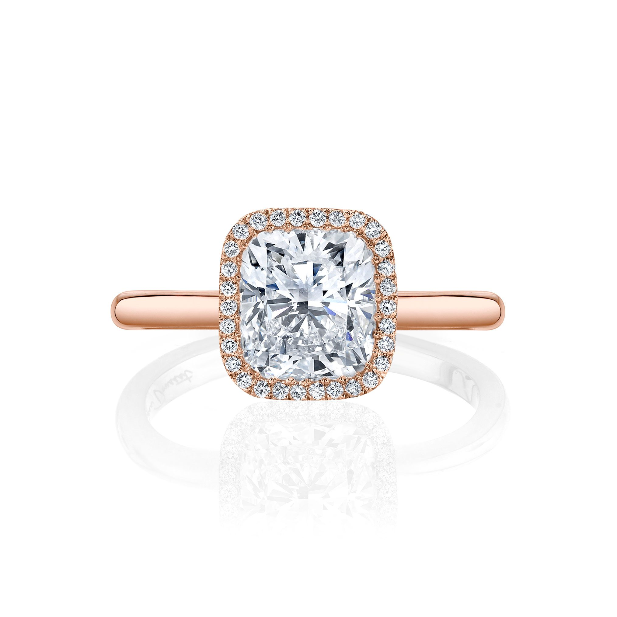 Colette Seamless Halo® Engagement Ring Cushion Cut Ring with 18k rose gold band