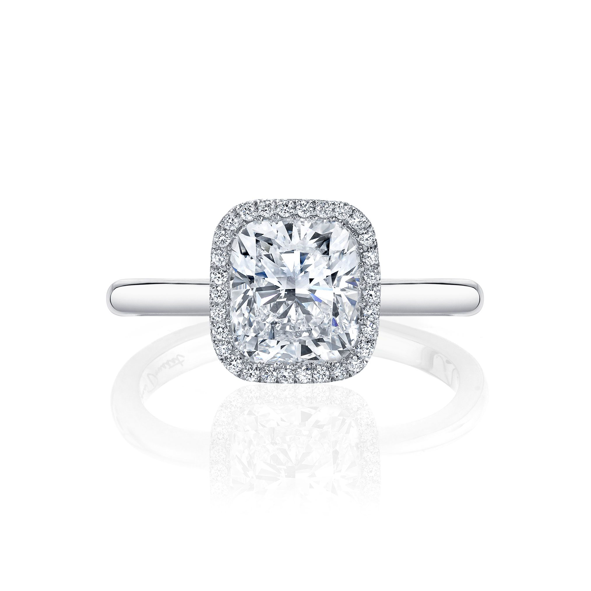 Colette Seamless Halo® Engagement Ring Cushion Cut Ring with white gold band